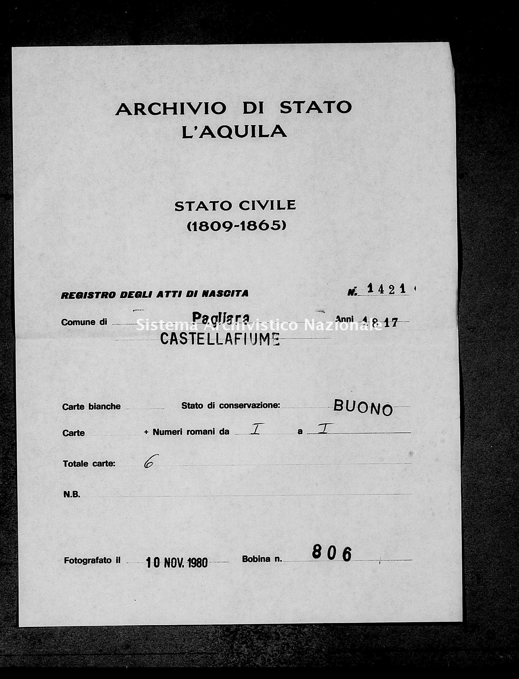 Archivio di stato di L'aquila - Stato civile della restaurazione - Pagliara - Nati - 1817 - 1421 -