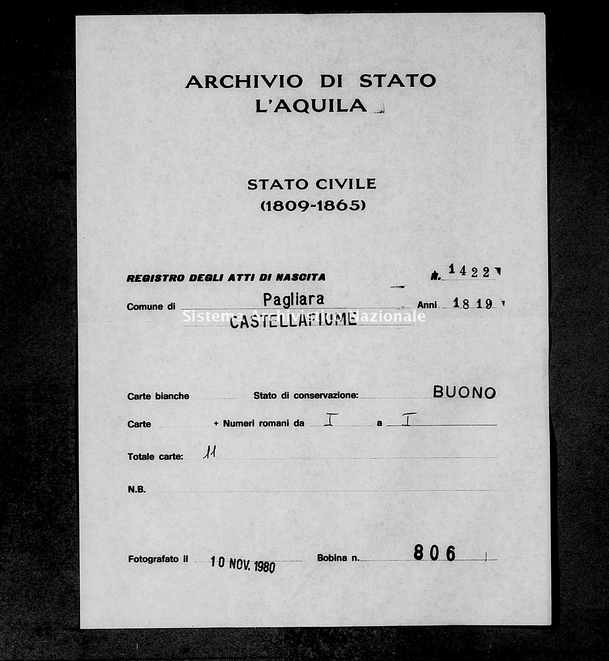 Archivio di stato di L'aquila - Stato civile della restaurazione - Pagliara - Nati - 1819 - 1422 -
