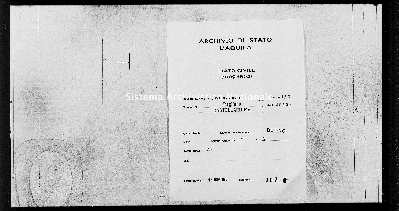 Archivio di stato di L'aquila - Stato civile della restaurazione - Pagliara - Nati - 1822 - 1423 -