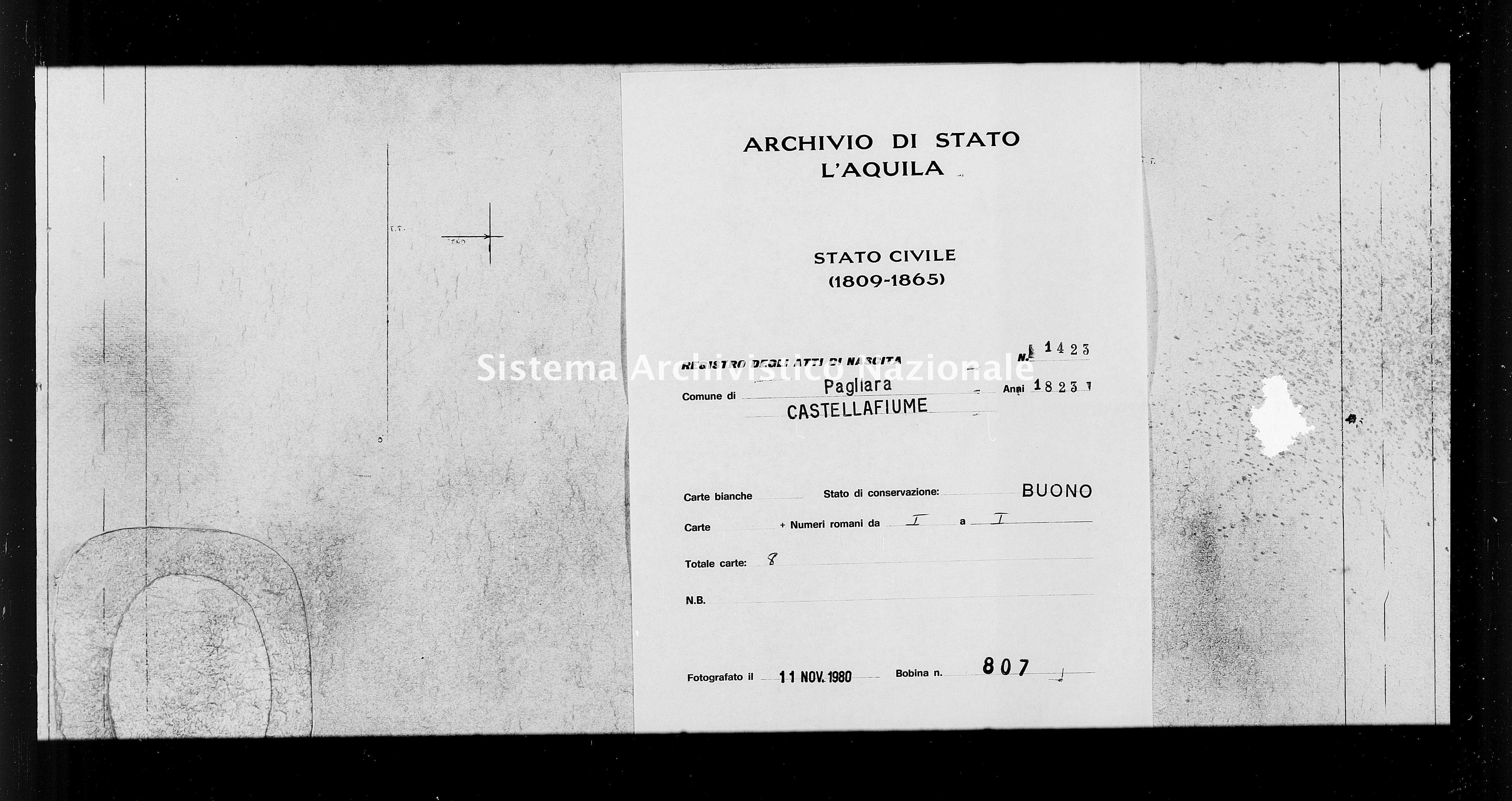 Archivio di stato di L'aquila - Stato civile della restaurazione - Pagliara - Nati - 1823 - 1423 -