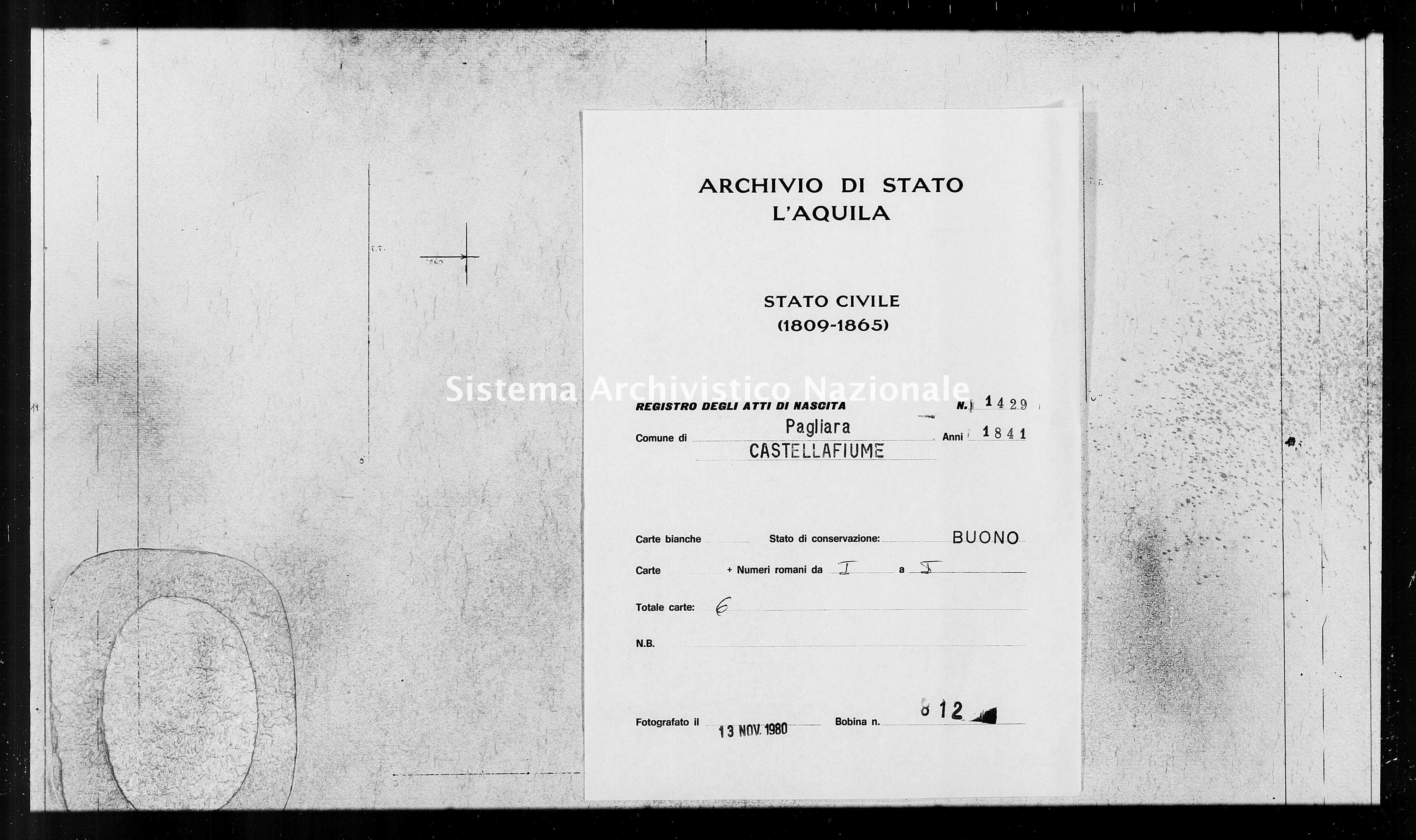 Archivio di stato di L'aquila - Stato civile della restaurazione - Pagliara - Nati - 1841 - 1429 -