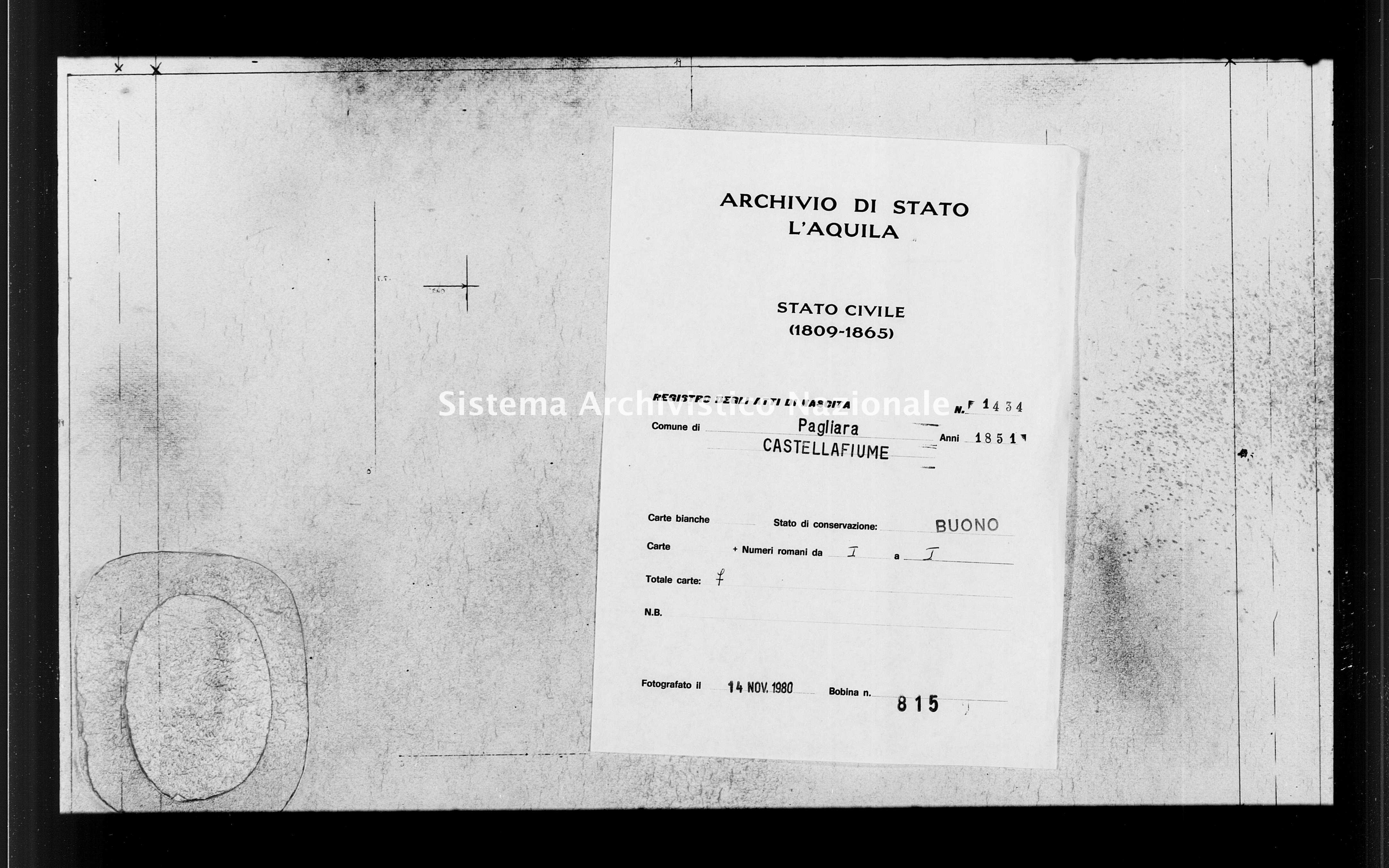 Archivio di stato di L'aquila - Stato civile della restaurazione - Pagliara - Nati - 1851 - 1434 -