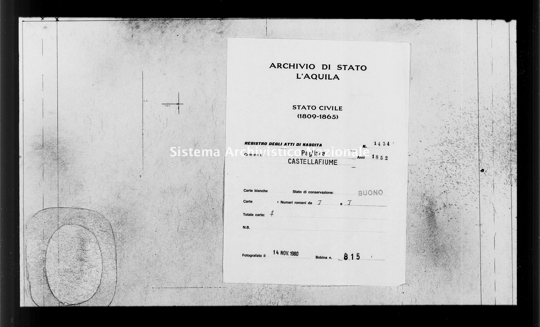 Archivio di stato di L'aquila - Stato civile della restaurazione - Pagliara - Nati - 1852 - 1434 -