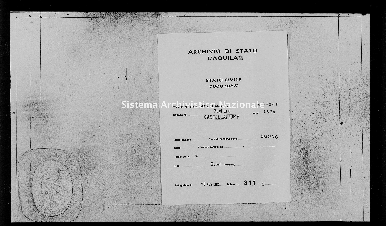 Archivio di stato di L'aquila - Stato civile della restaurazione - Pagliara - Nati, battesimi - 1836 - 1428 -