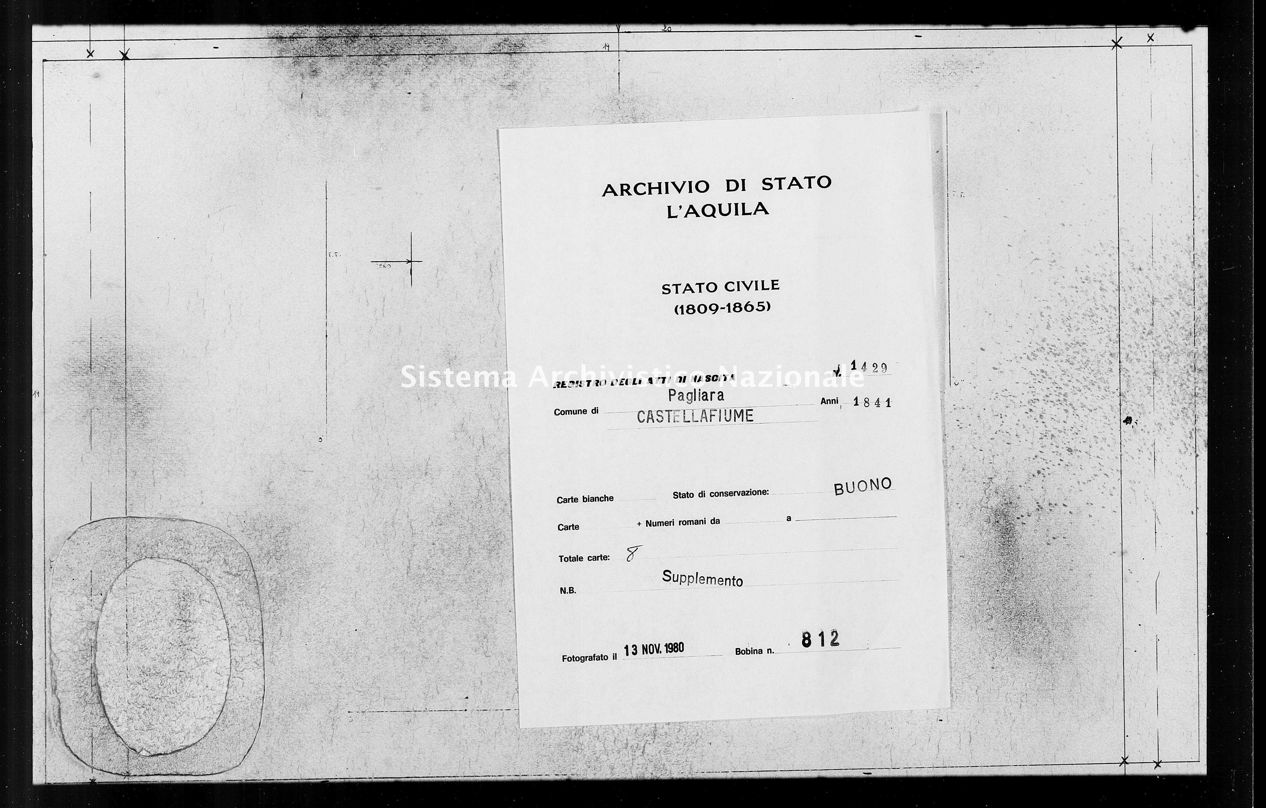 Archivio di stato di L'aquila - Stato civile della restaurazione - Pagliara - Nati, battesimi - 1841 - 1429 -