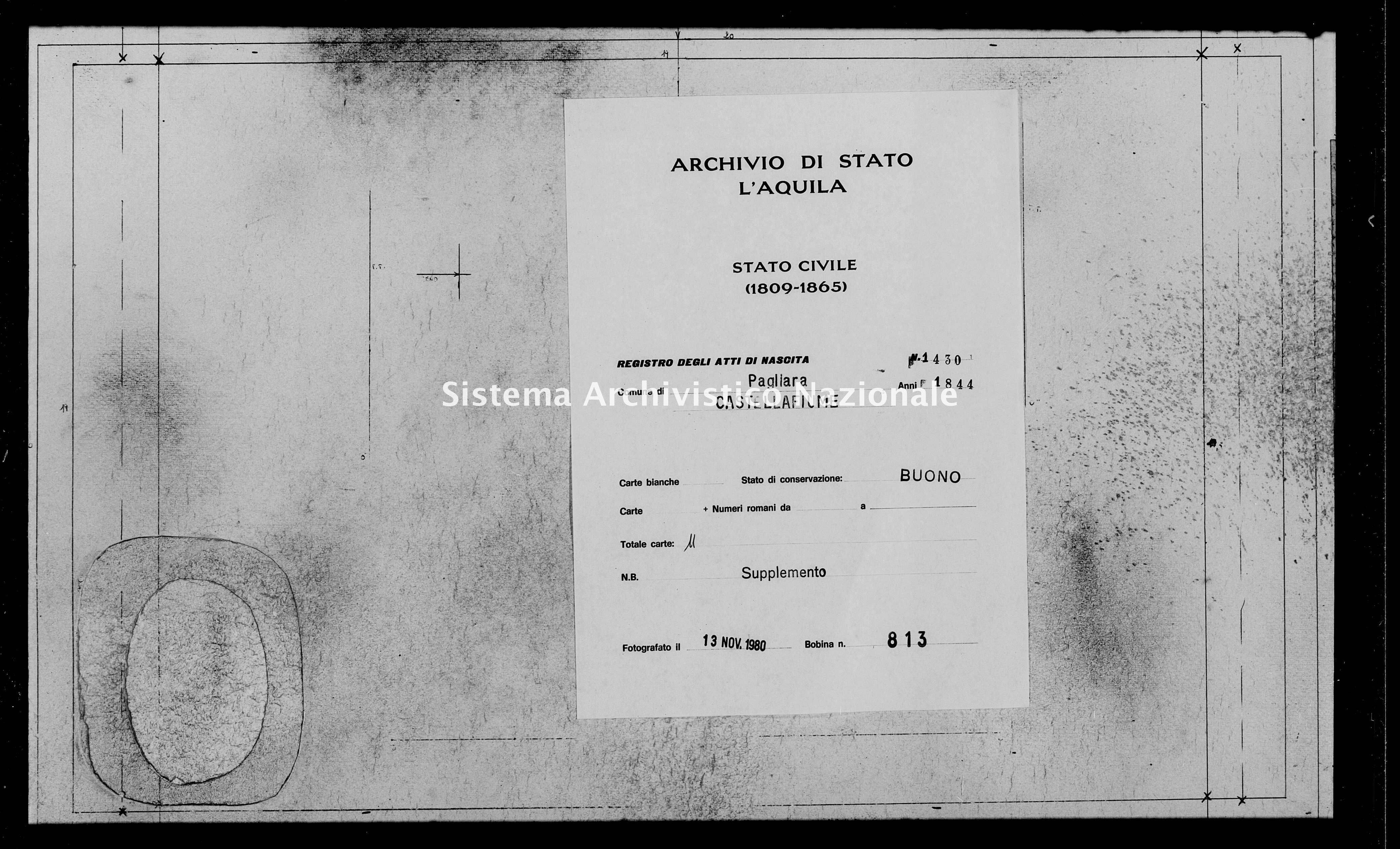 Archivio di stato di L'aquila - Stato civile della restaurazione - Pagliara - Nati, battesimi - 1844 - 1430 -