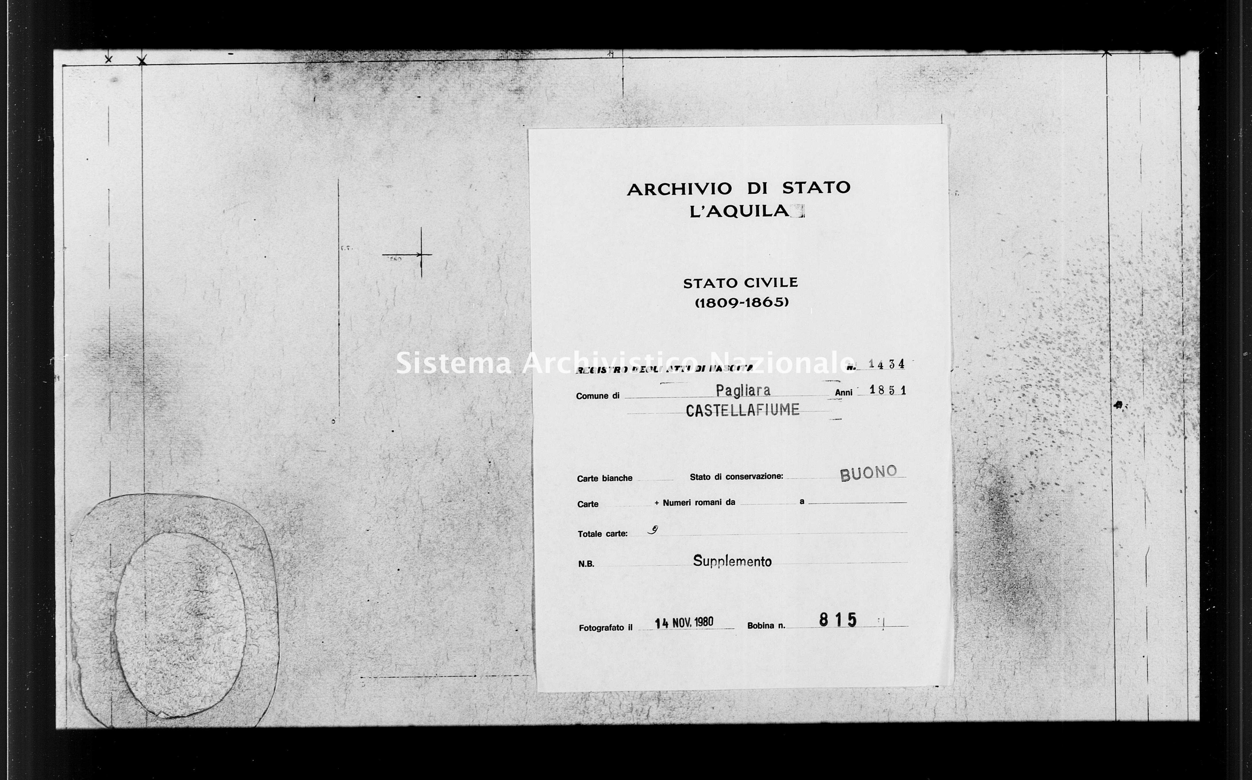 Archivio di stato di L'aquila - Stato civile della restaurazione - Pagliara - Nati, battesimi - 1851 - 1434 -