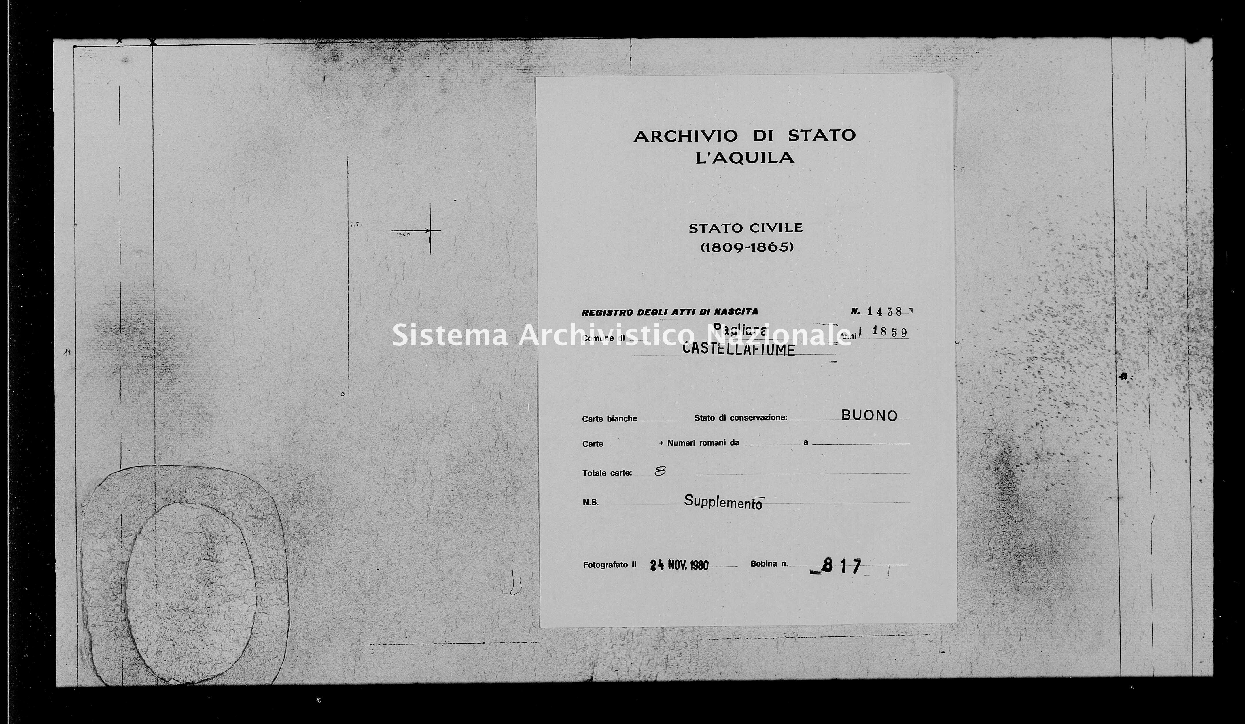 Archivio di stato di L'aquila - Stato civile della restaurazione - Pagliara - Nati, battesimi - 1859 - 1438 -