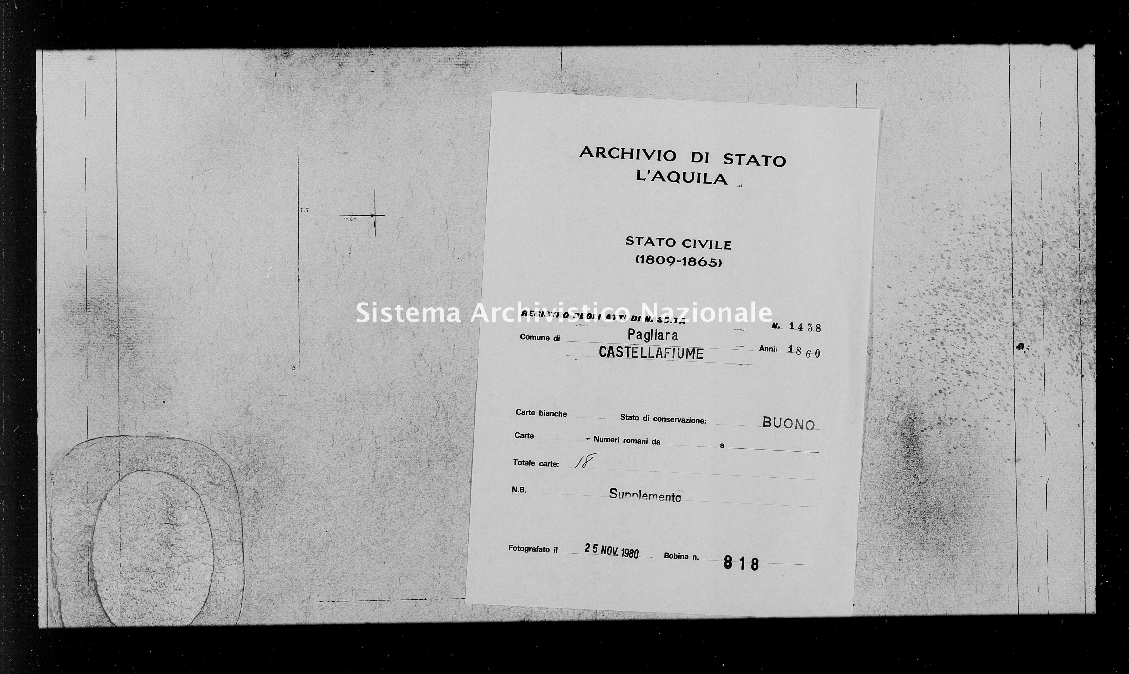 Archivio di stato di L'aquila - Stato civile della restaurazione - Pagliara - Nati, battesimi - 1860 - 1438 -