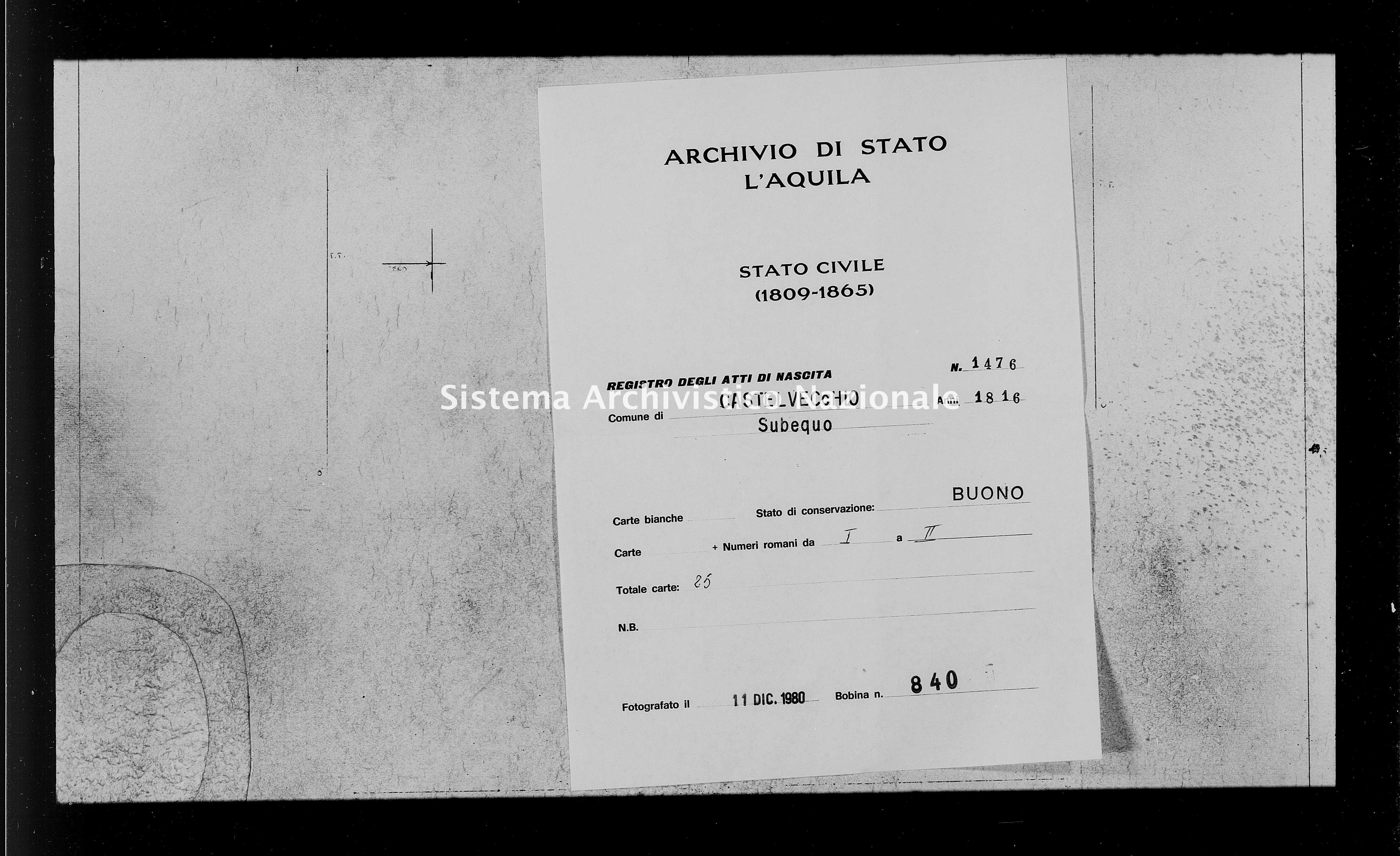 Archivio di stato di L'aquila - Stato civile della restaurazione - Castelvecchio Subequo - Nati - 1816 - 1476 -