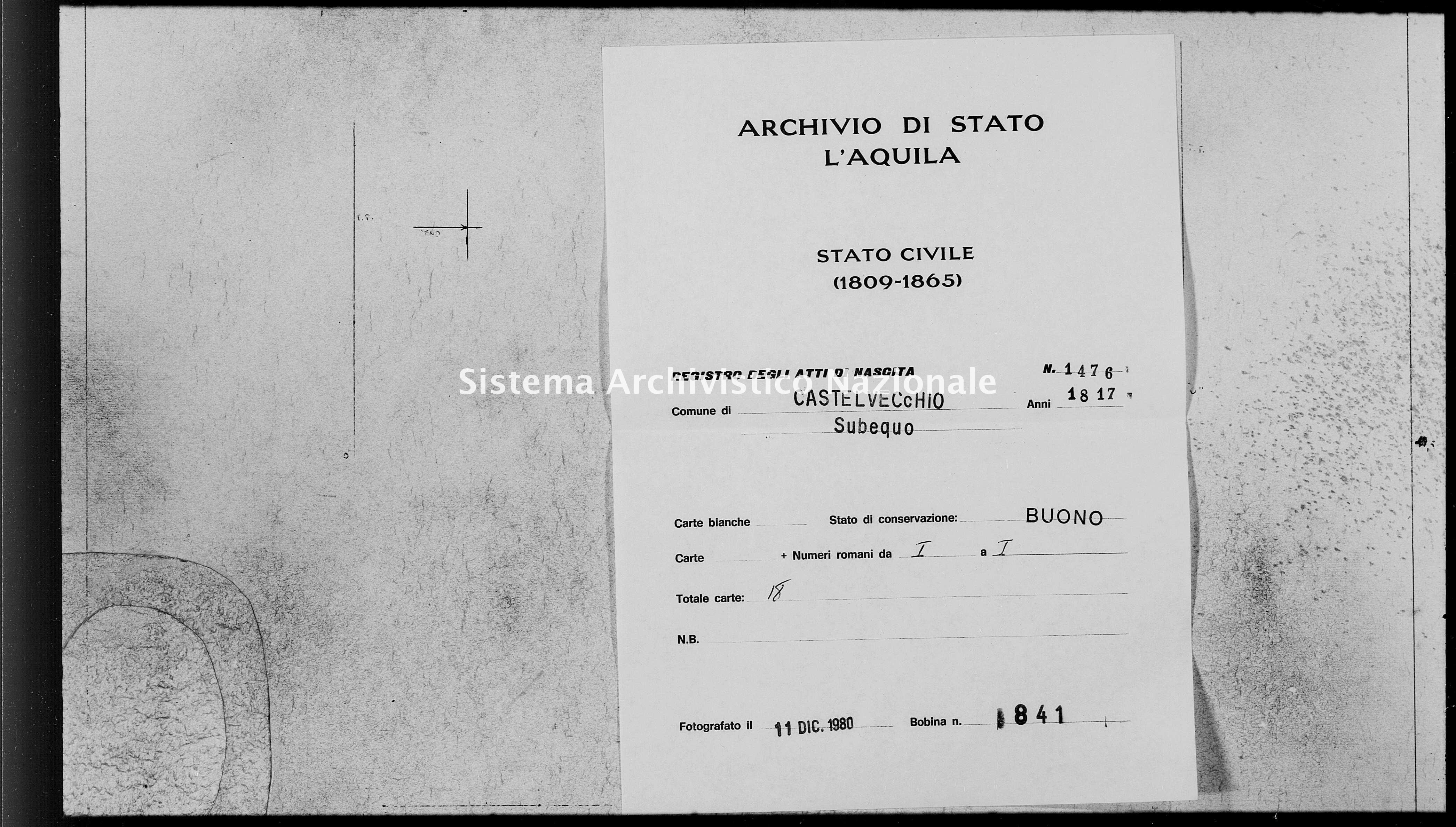 Archivio di stato di L'aquila - Stato civile della restaurazione - Castelvecchio Subequo - Nati - 1817 - 1476 -