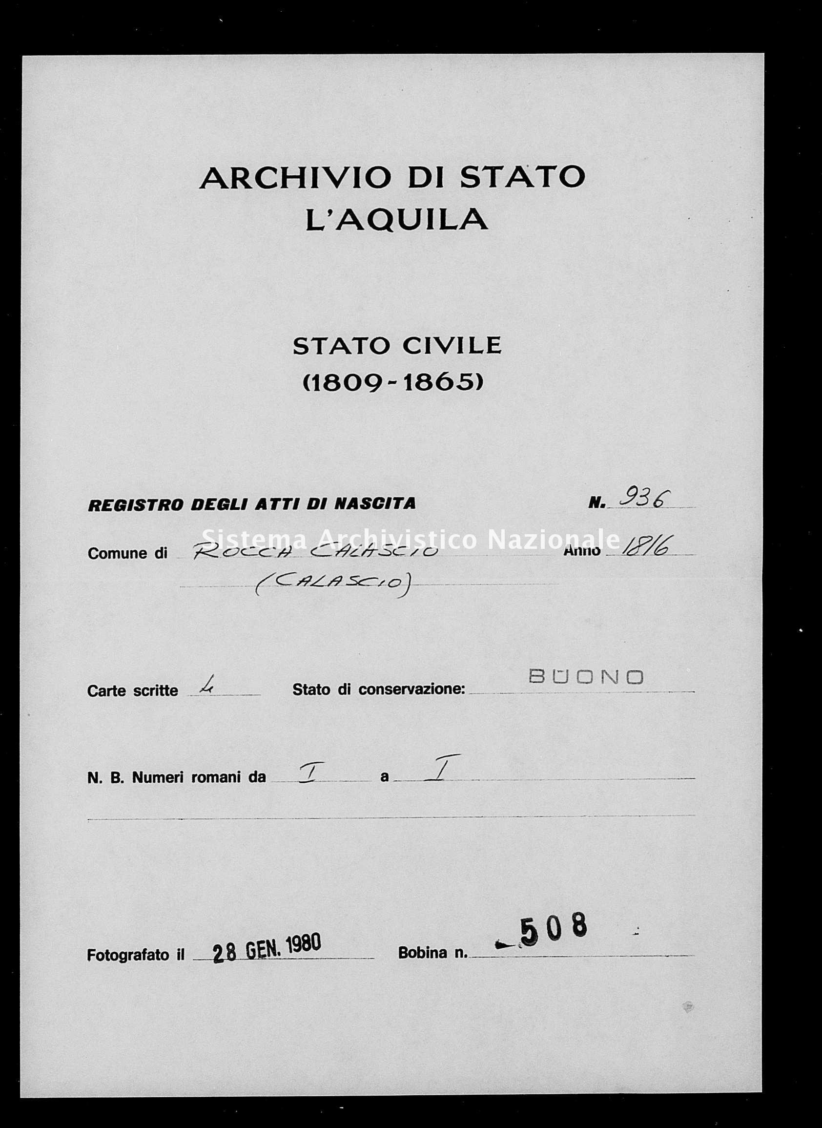Archivio di stato di L'aquila - Stato civile della restaurazione - Rocca Calascio - Nati - 1816 - 936 -