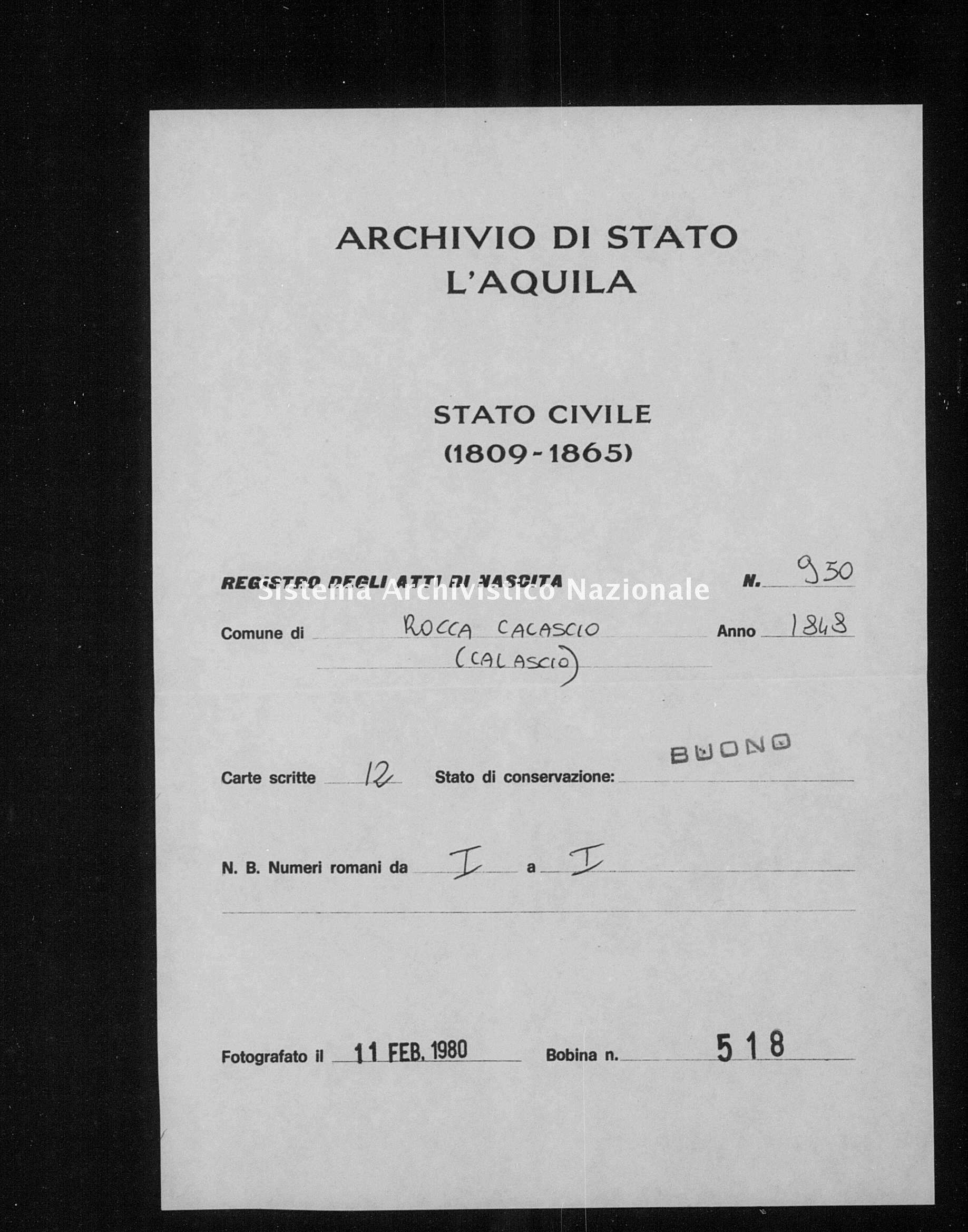 Archivio di stato di L'aquila - Stato civile della restaurazione - Rocca Calascio - Nati - 1848 - 950 -