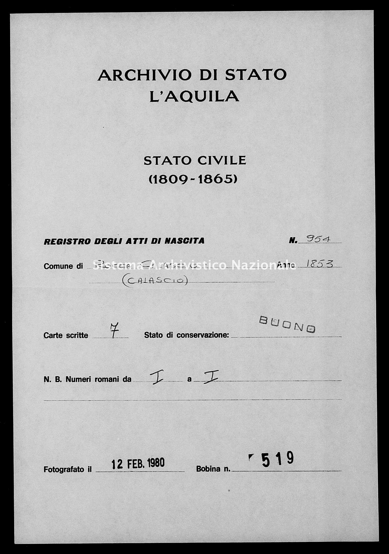 Archivio di stato di L'aquila - Stato civile della restaurazione - Rocca Calascio - Nati - 1853 - 954 -