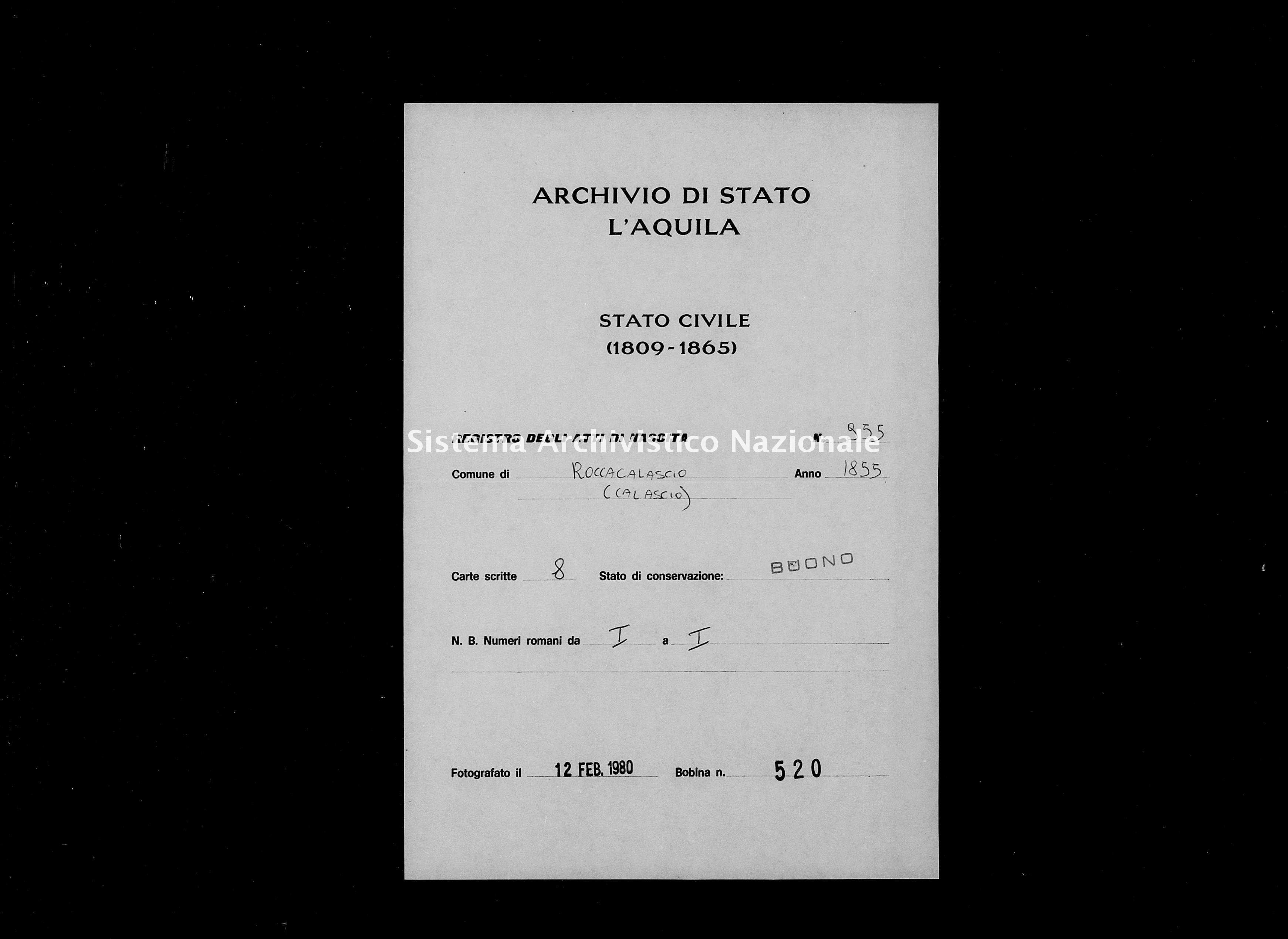 Archivio di stato di L'aquila - Stato civile della restaurazione - Rocca Calascio - Nati - 1855 - 955 -