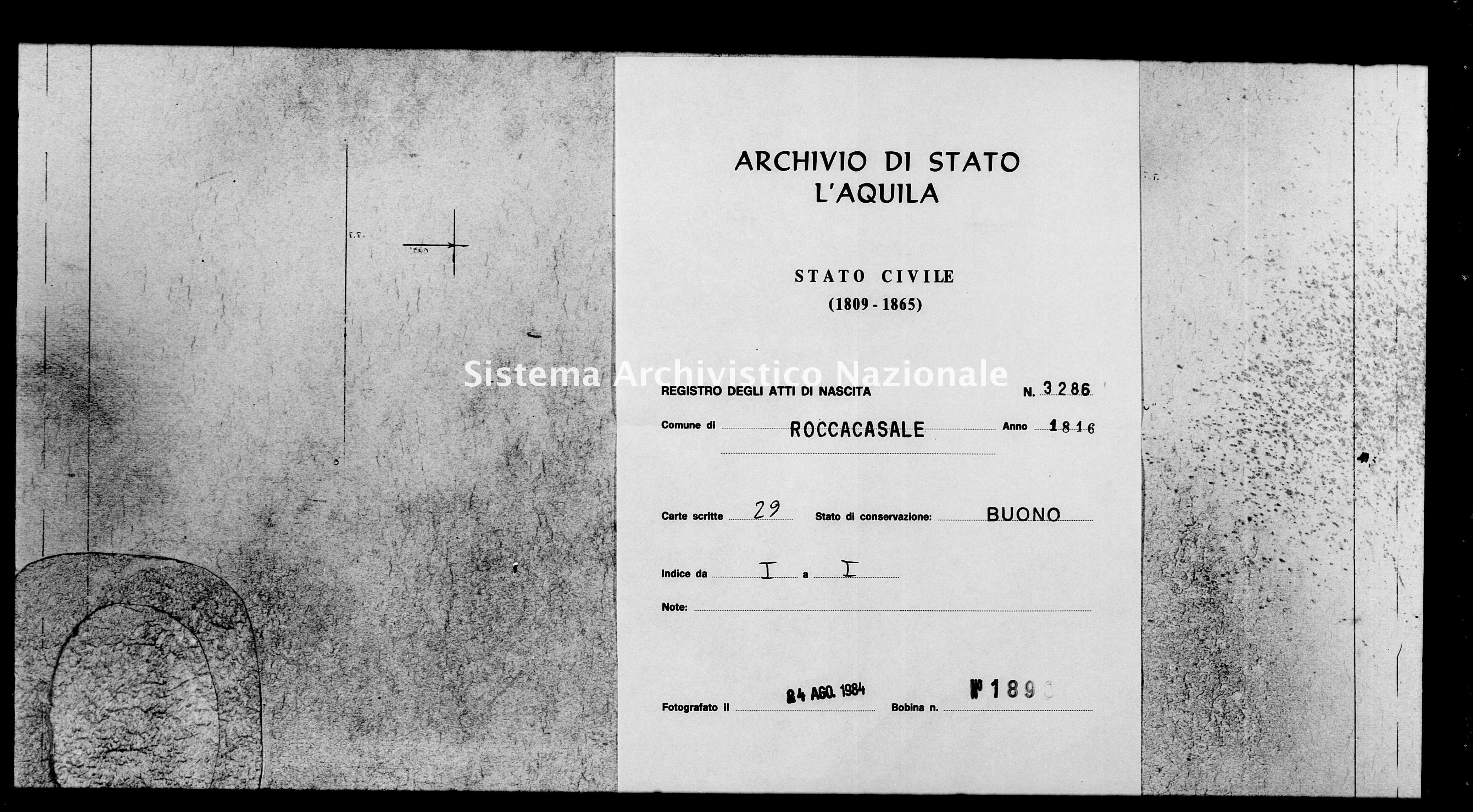 Archivio di stato di L'aquila - Stato civile della restaurazione - Roccacasale - Nati - 1816 - 3286 -