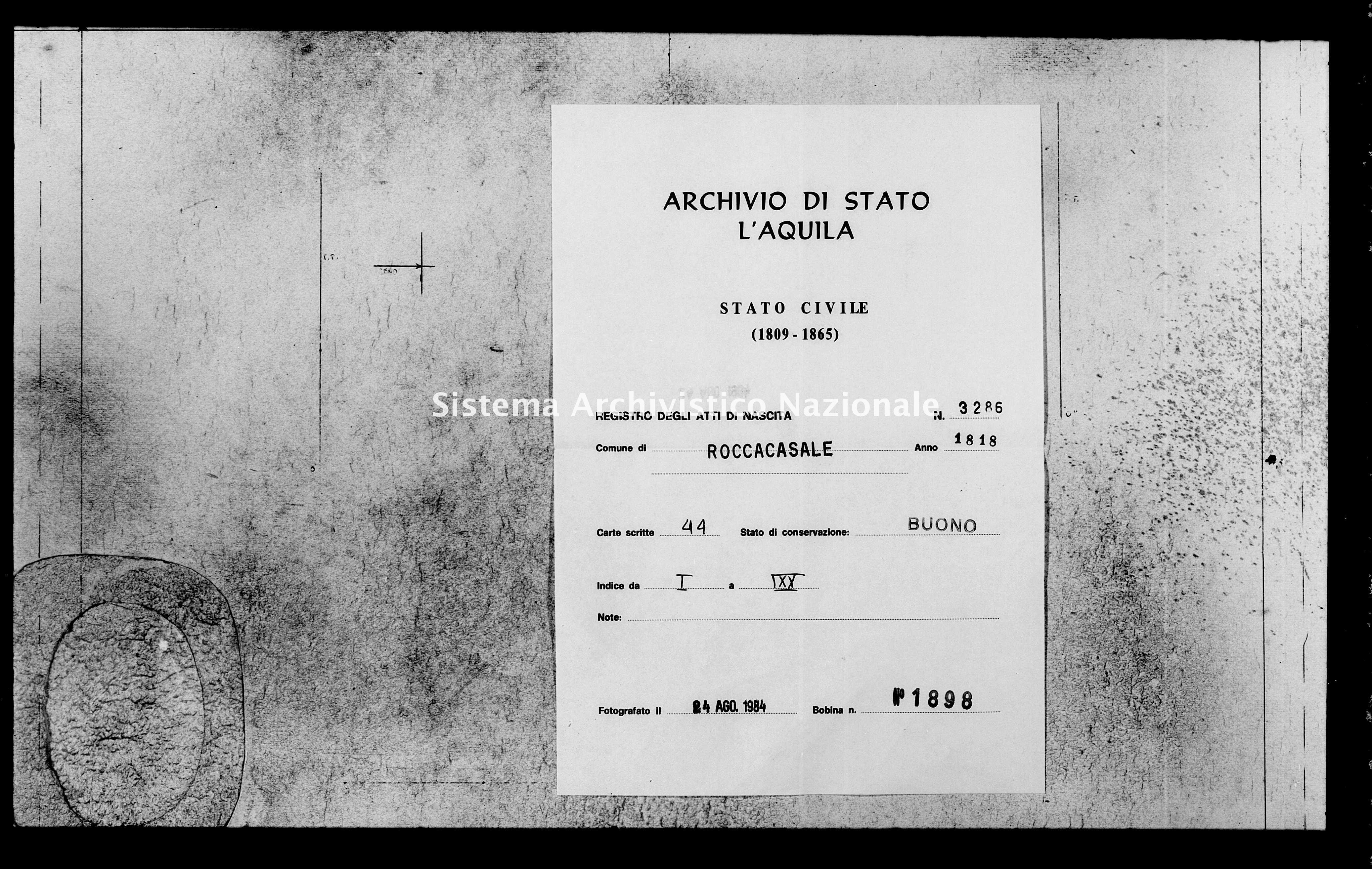 Archivio di stato di L'aquila - Stato civile della restaurazione - Roccacasale - Nati - 1818 - 3286 -