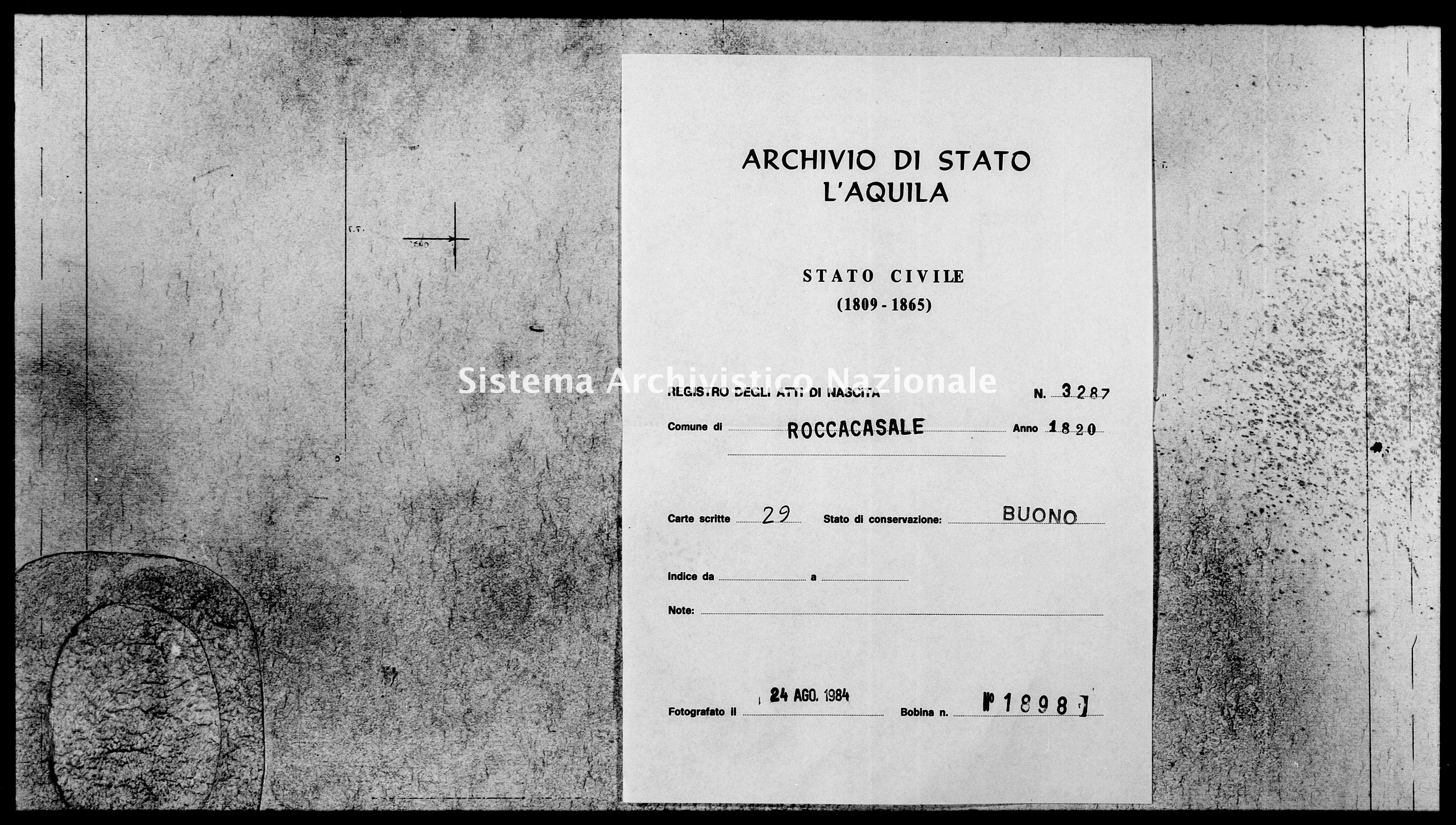 Archivio di stato di L'aquila - Stato civile della restaurazione - Roccacasale - Nati - 1820 - 3287 -