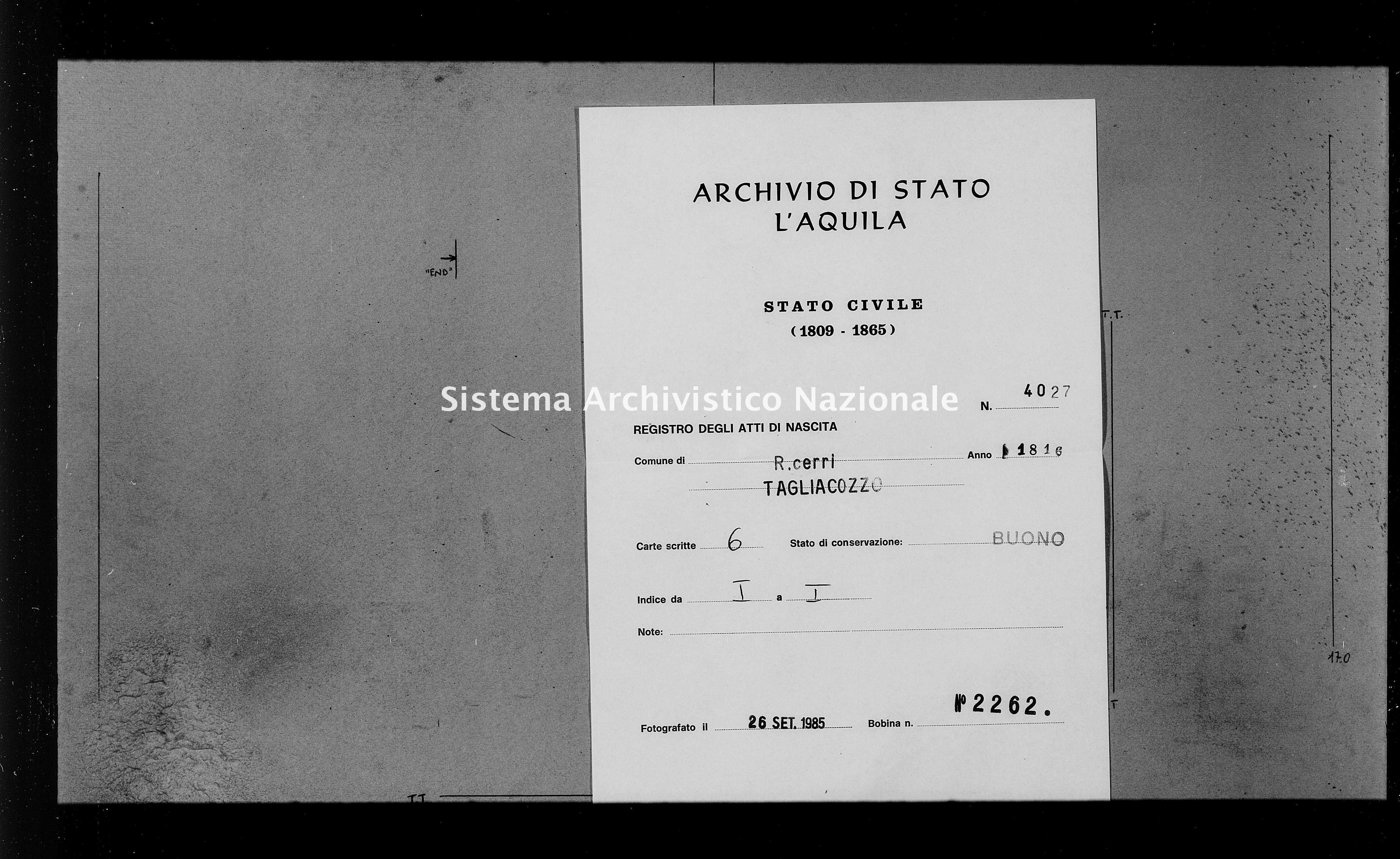Archivio di stato di L'aquila - Stato civile della restaurazione - Roccacerro - Nati - 1816 - 4027 -