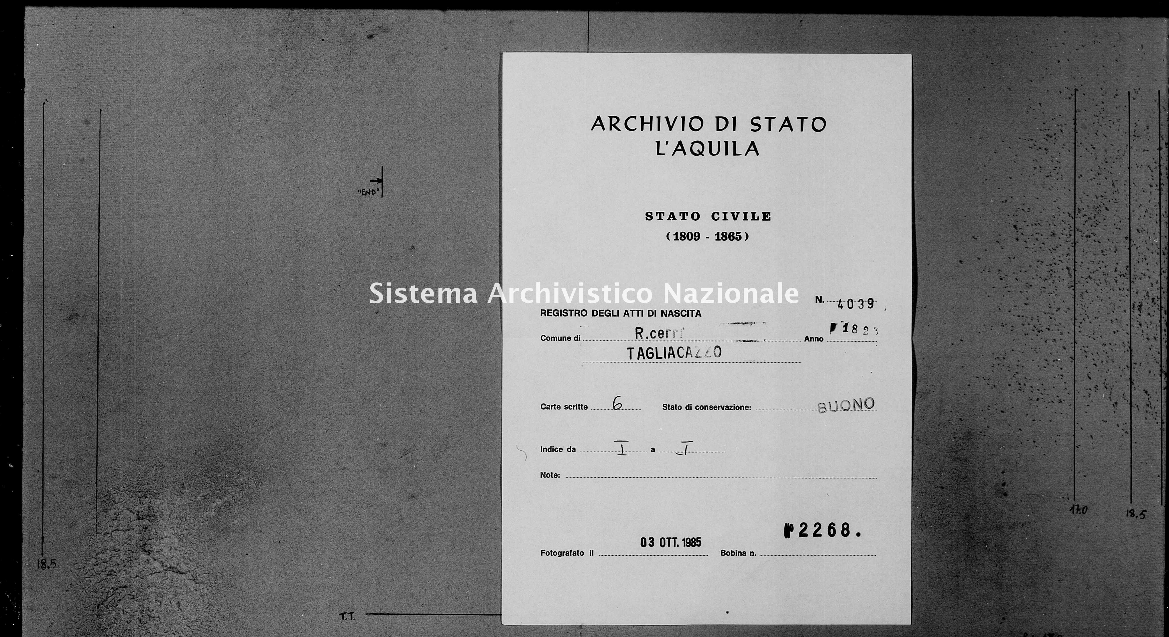 Archivio di stato di L'aquila - Stato civile della restaurazione - Roccacerro - Nati - 1823 - 4039 -