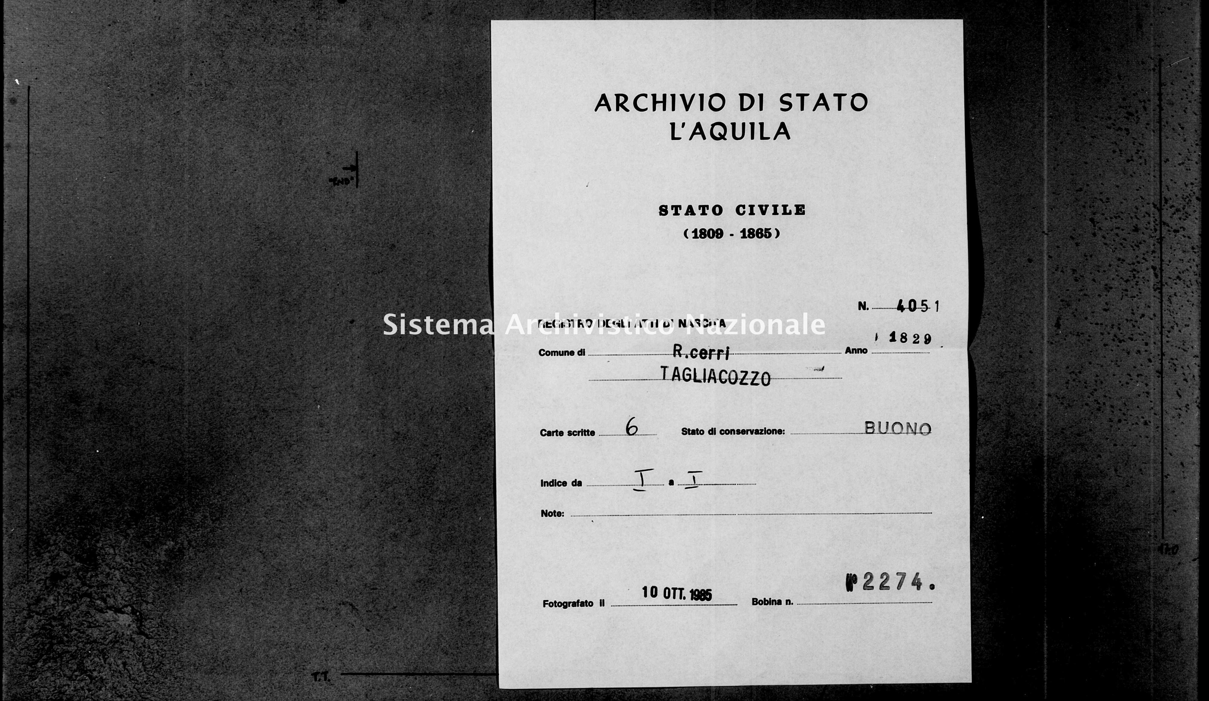 Archivio di stato di L'aquila - Stato civile della restaurazione - Roccacerro - Nati - 1829 - 4051 -