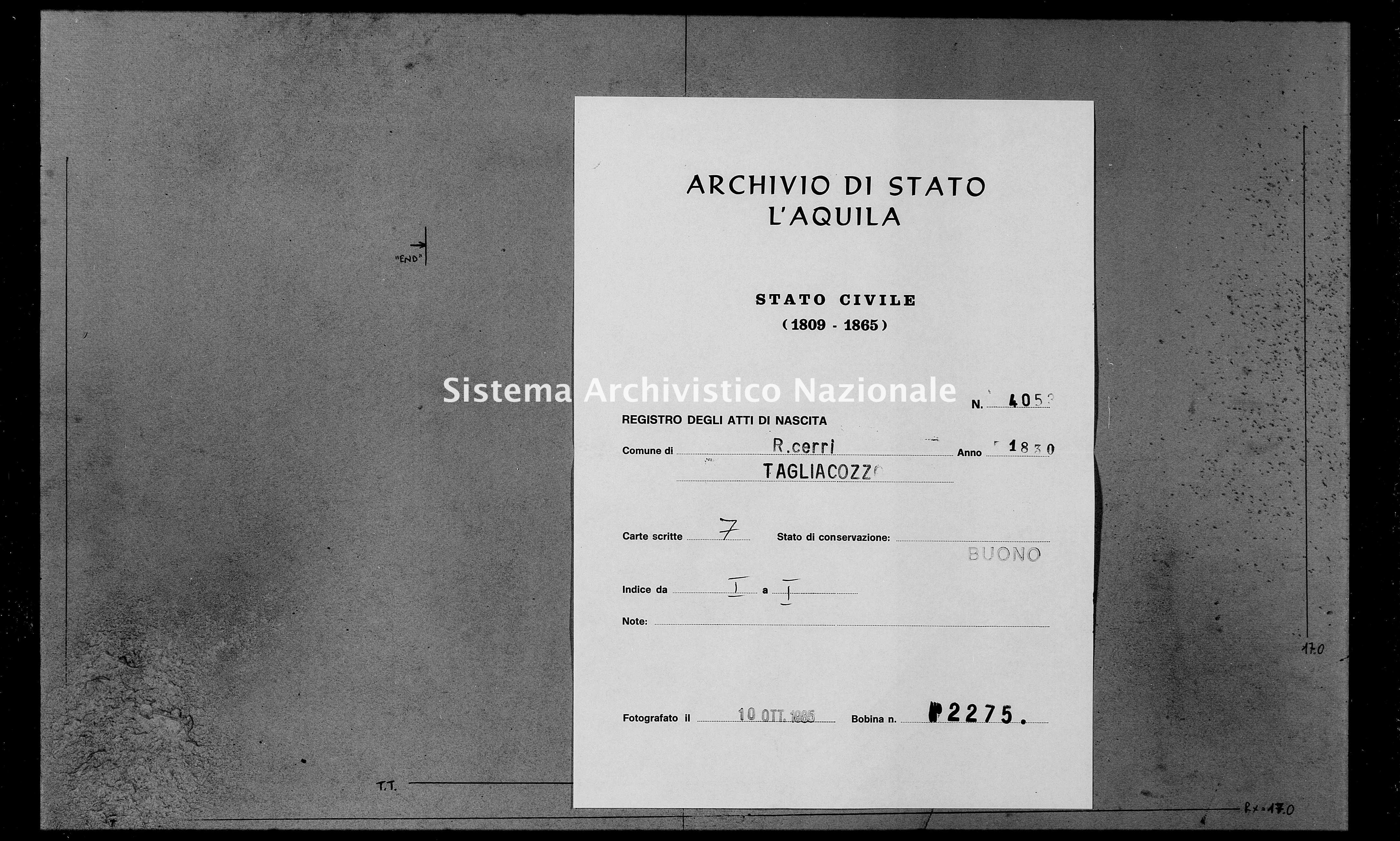 Archivio di stato di L'aquila - Stato civile della restaurazione - Roccacerro - Nati - 1830 - 4053 -