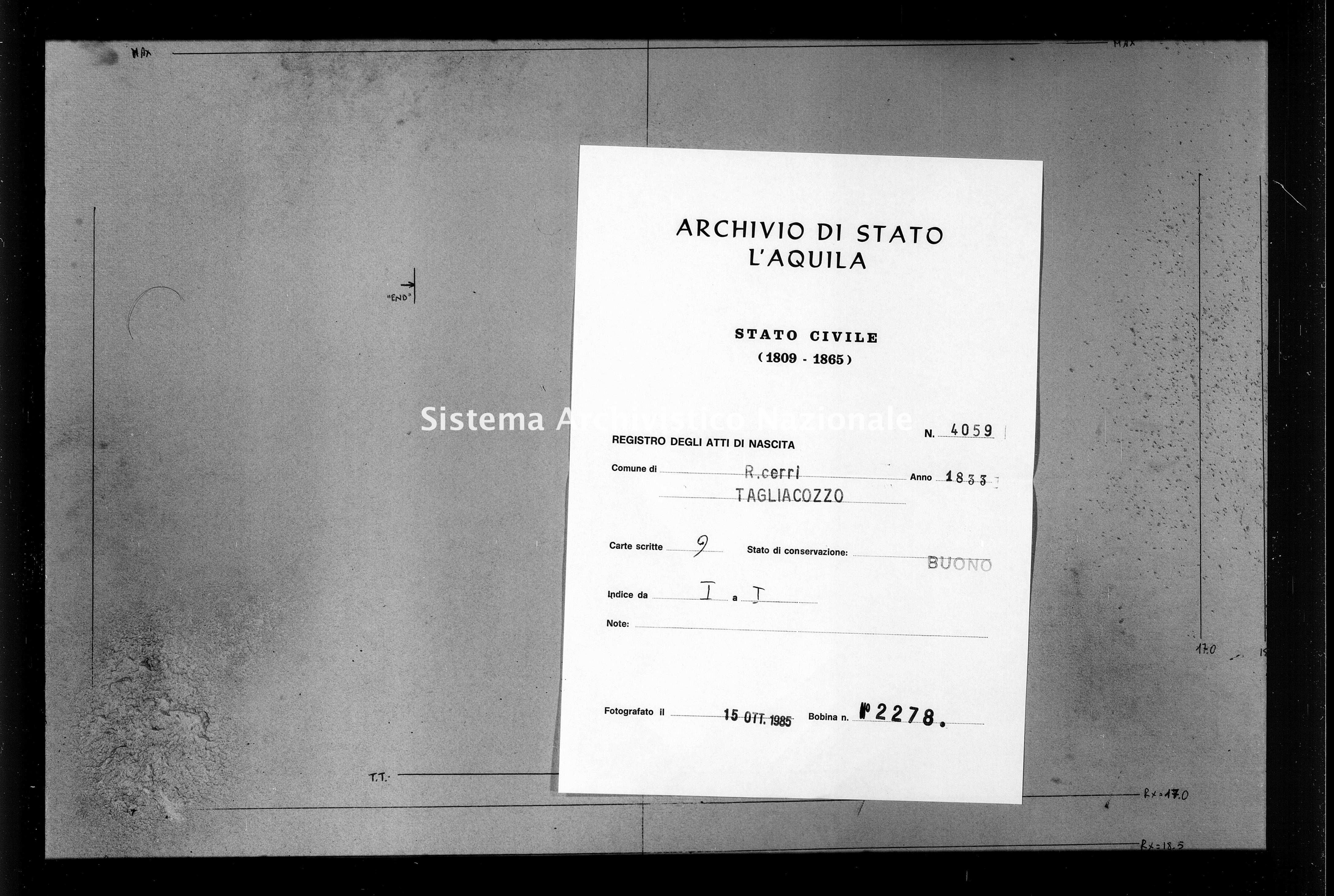 Archivio di stato di L'aquila - Stato civile della restaurazione - Roccacerro - Nati - 1833 - 4059 -