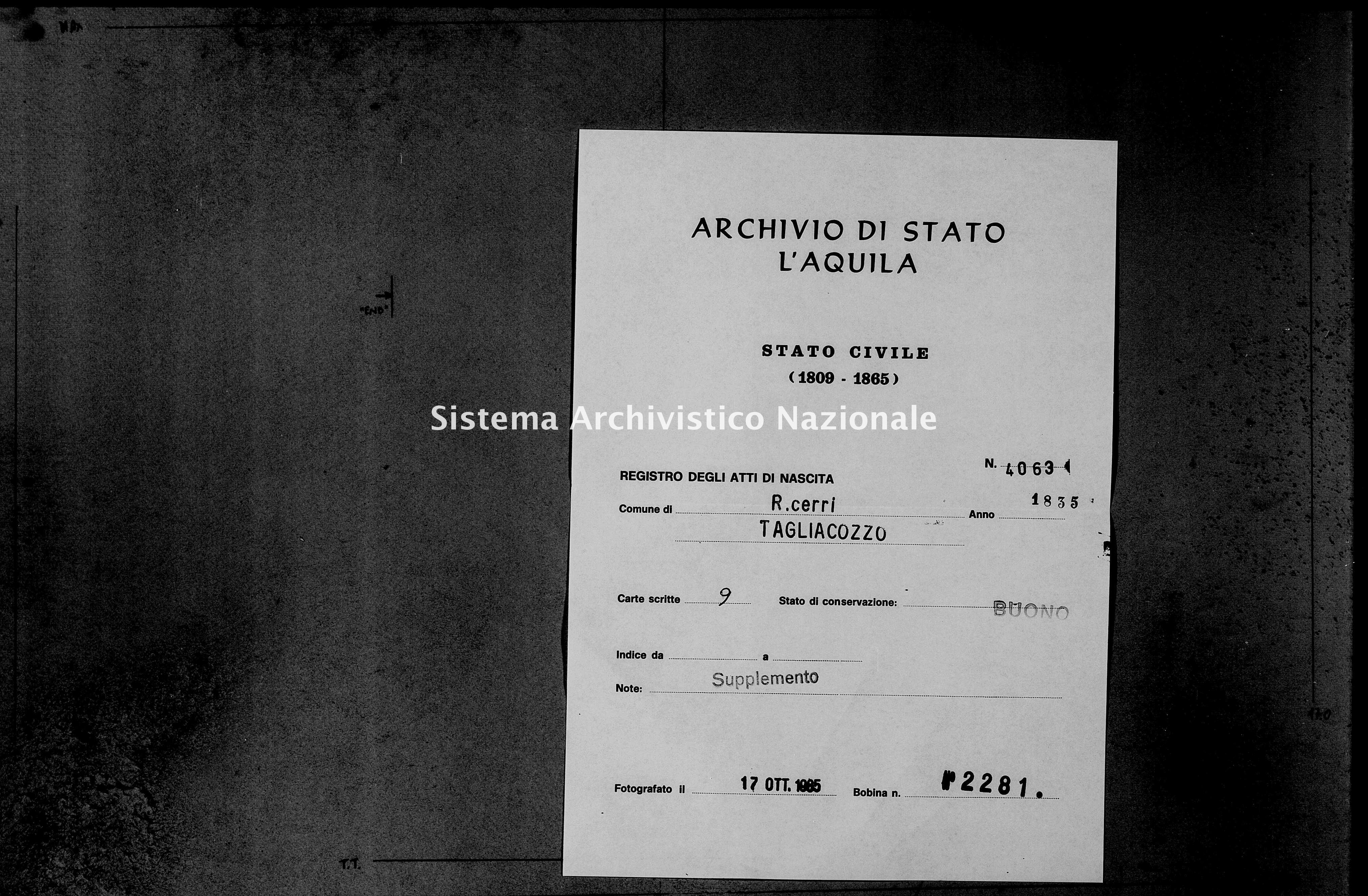 Archivio di stato di L'aquila - Stato civile della restaurazione - Roccacerro - Nati, battesimi - 1835 - 4063 -