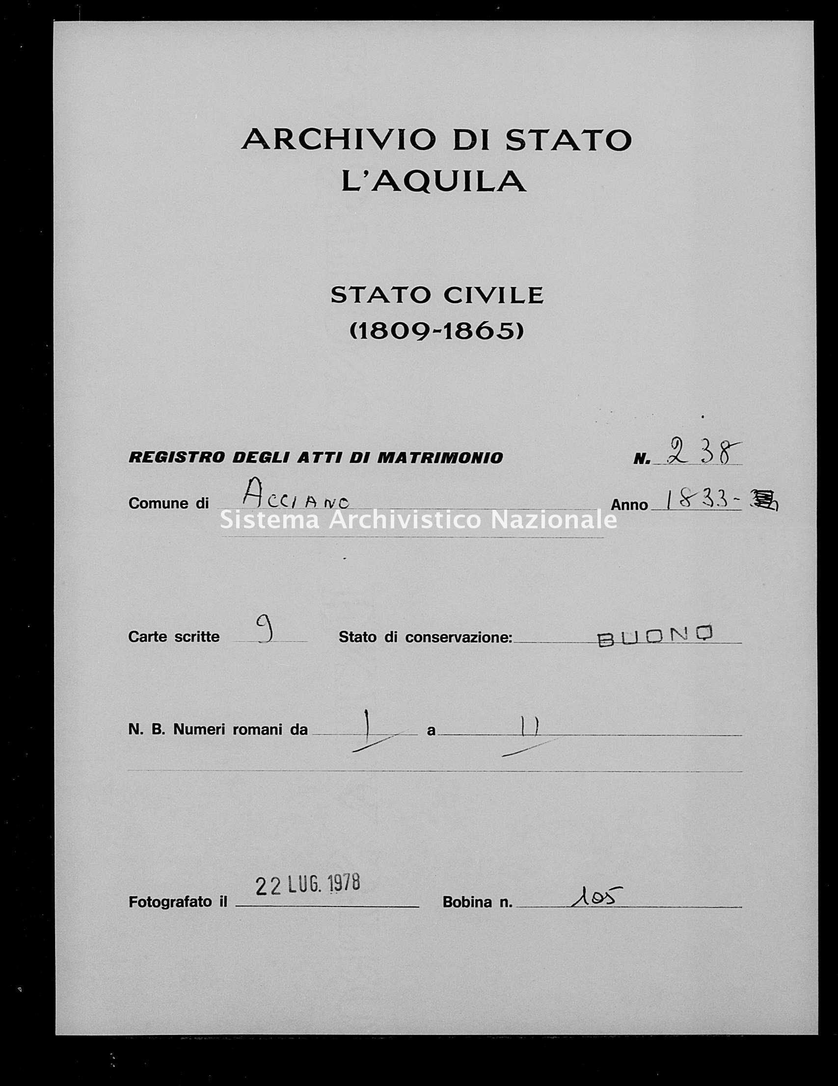 Archivio di stato di L'aquila - Stato civile della restaurazione - Acciano - Matrimoni - 1833 - 238 -