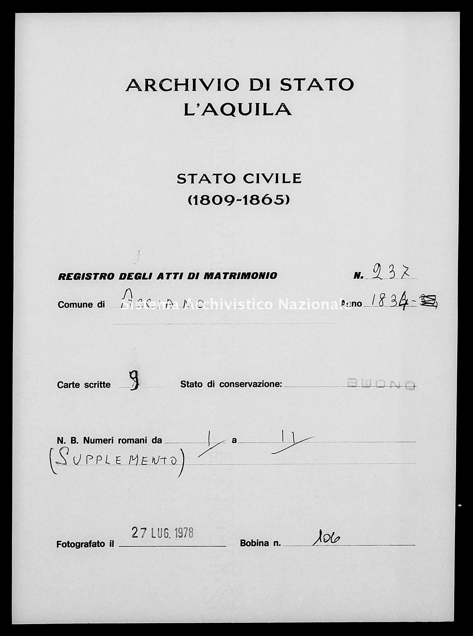 Archivio di stato di L'aquila - Stato civile della restaurazione - Acciano - Matrimoni - 1834 - 238 -