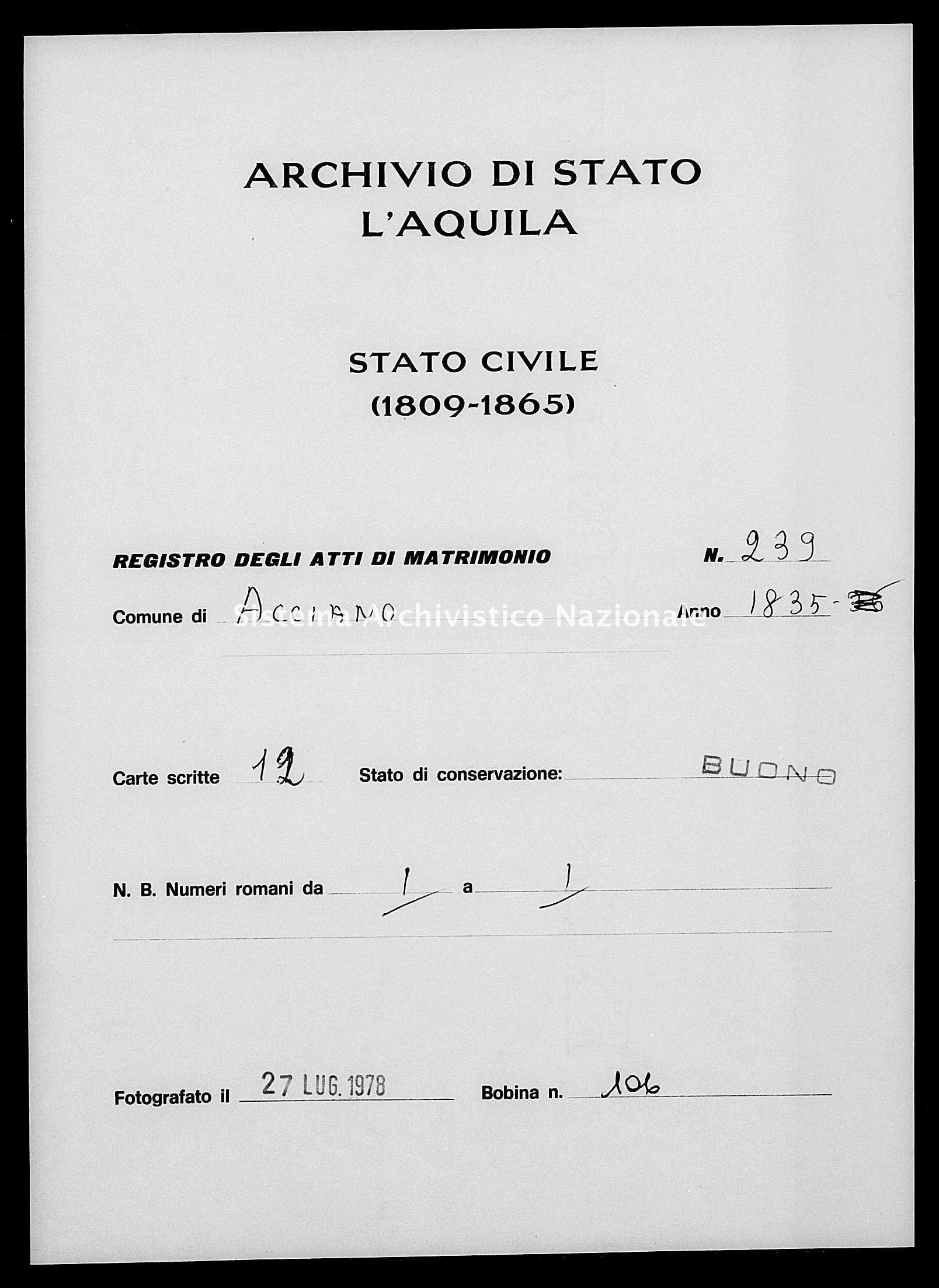 Archivio di stato di L'aquila - Stato civile della restaurazione - Acciano - Matrimoni - 1835 - 239 -