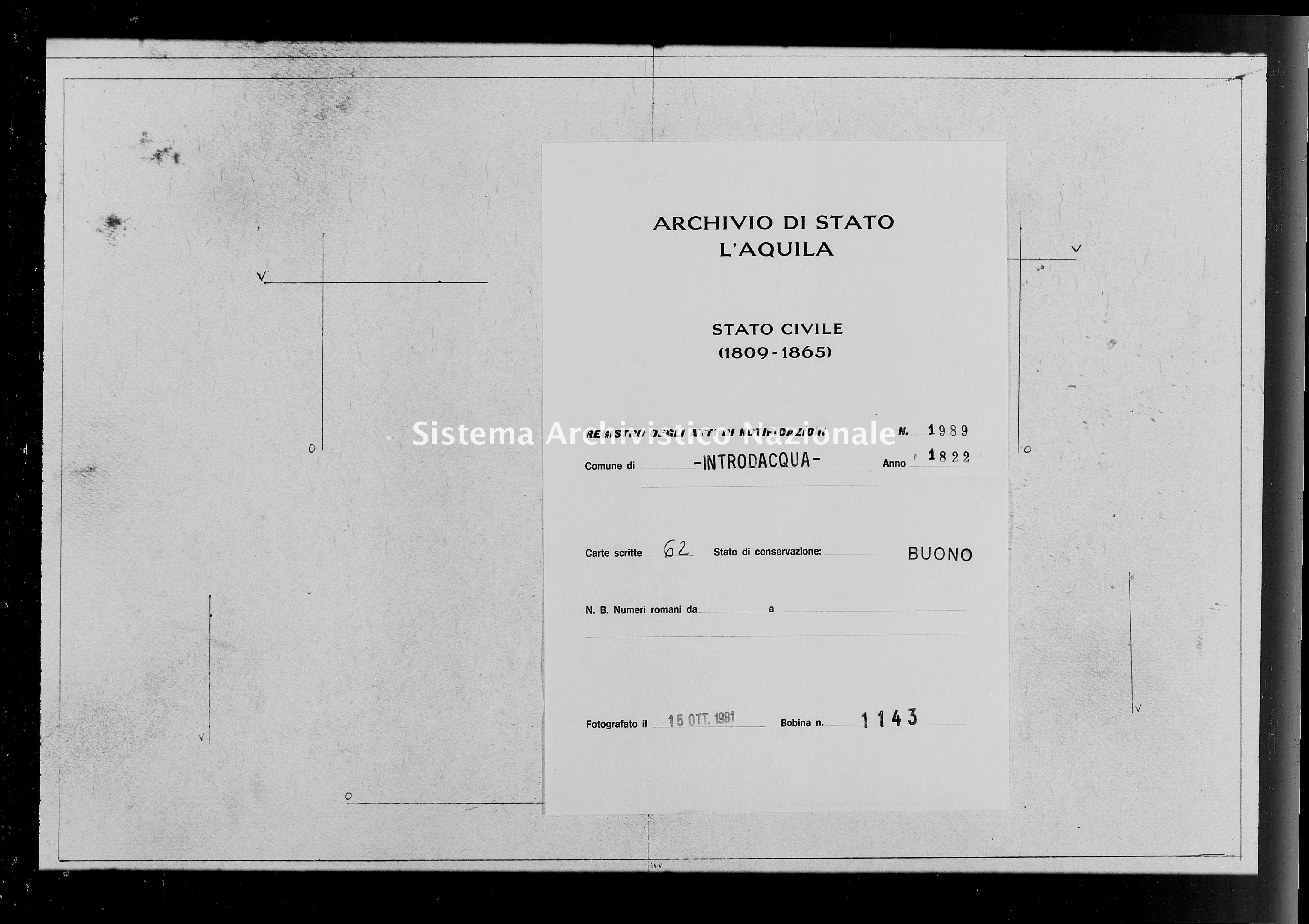 Archivio di stato di L'aquila - Stato civile della restaurazione - Introdacqua - Matrimoni, memorandum notificazioni ed opposizioni - 1822 - 1989 -