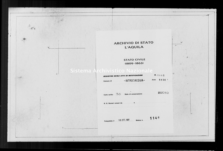 Archivio di stato di L'aquila - Stato civile della restaurazione - Introdacqua - Matrimoni, memorandum notificazioni ed opposizioni - 1826 - 1992 -