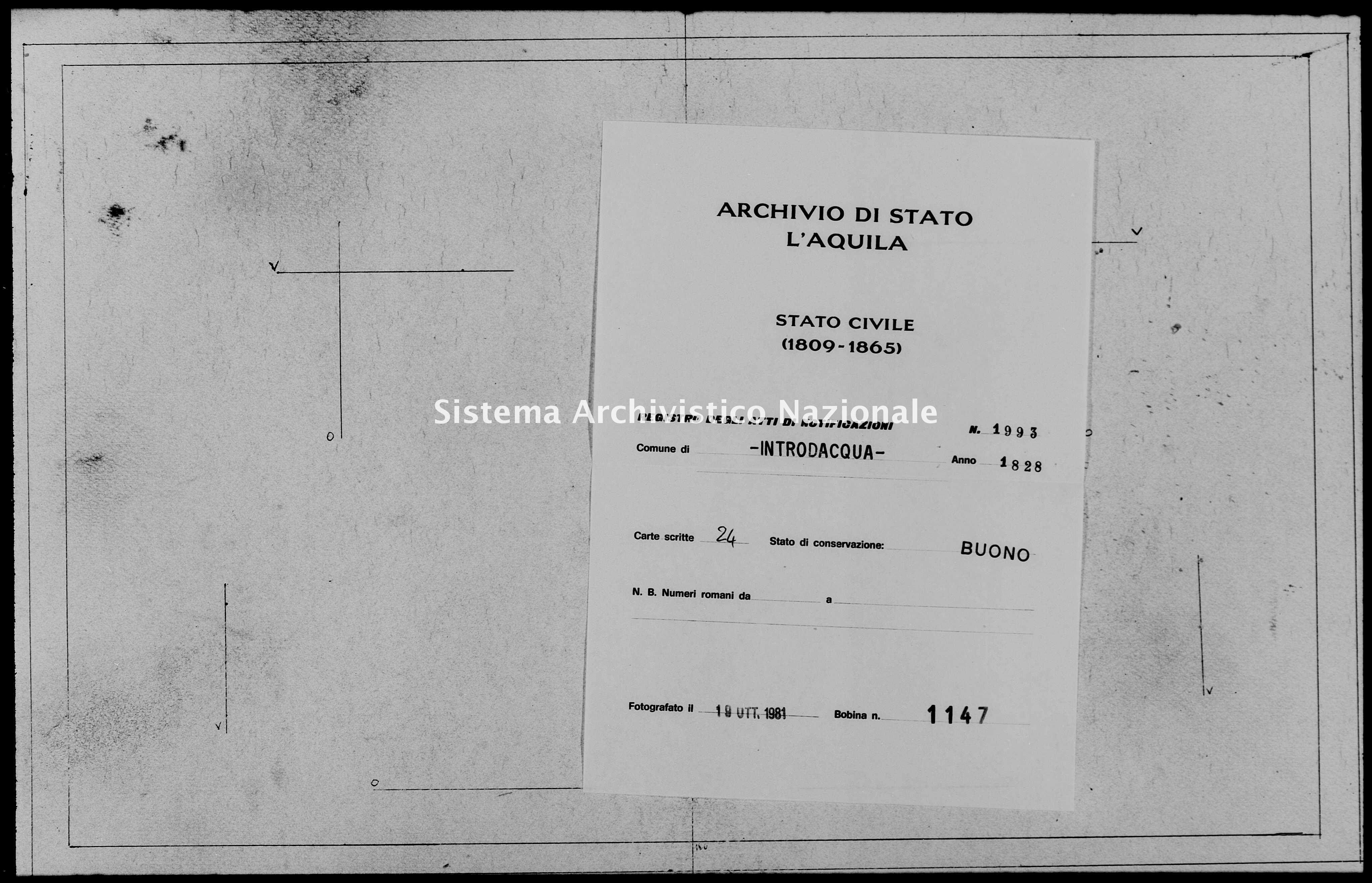 Archivio di stato di L'aquila - Stato civile della restaurazione - Introdacqua - Matrimoni, memorandum notificazioni ed opposizioni - 1828 - 1993 -