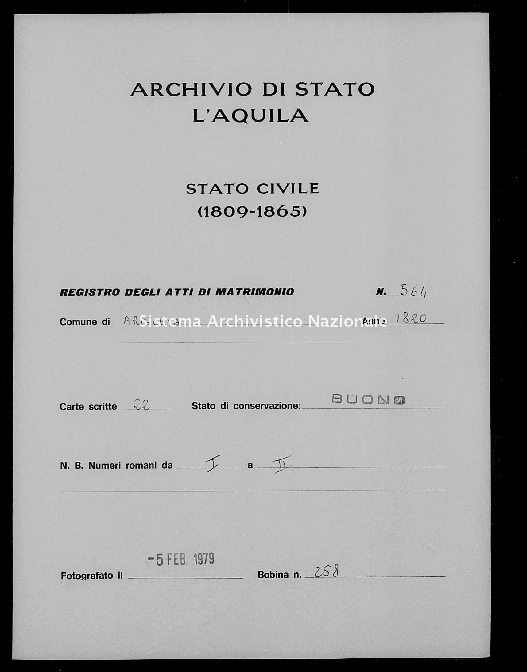 Archivio di stato di L'aquila - Stato civile della restaurazione - Arischia - Matrimoni - 1820 - 564 -