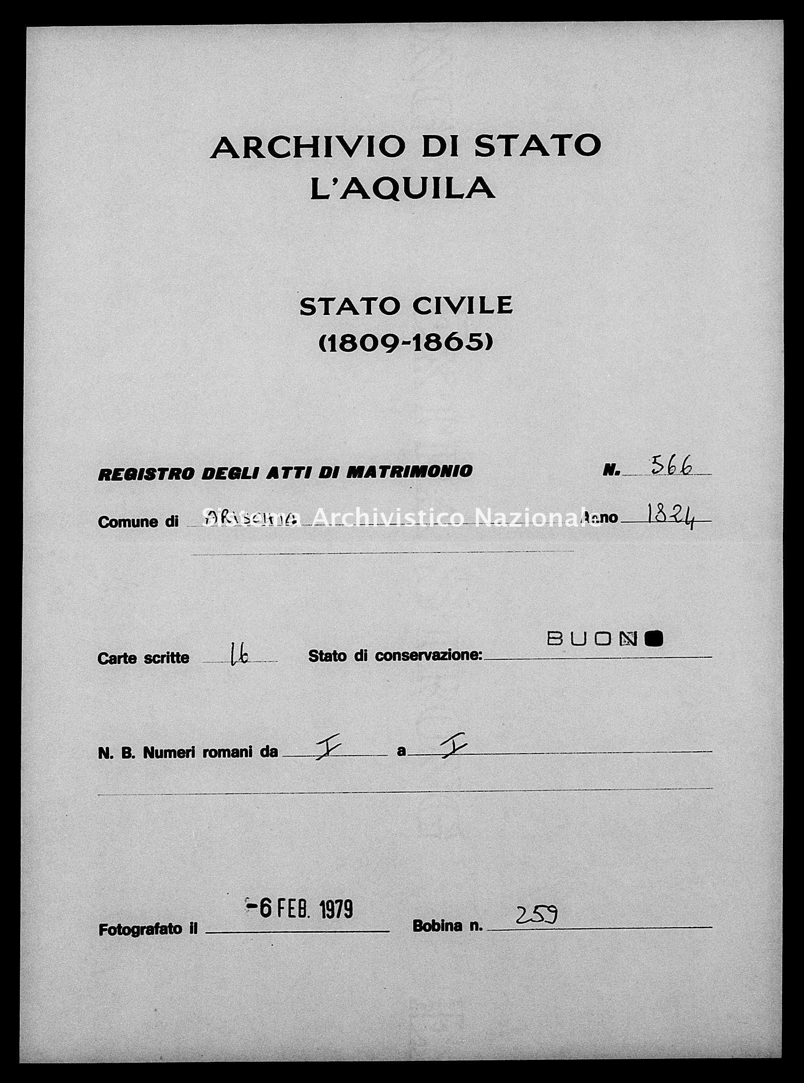 Archivio di stato di L'aquila - Stato civile della restaurazione - Arischia - Matrimoni - 1824 - 566 -
