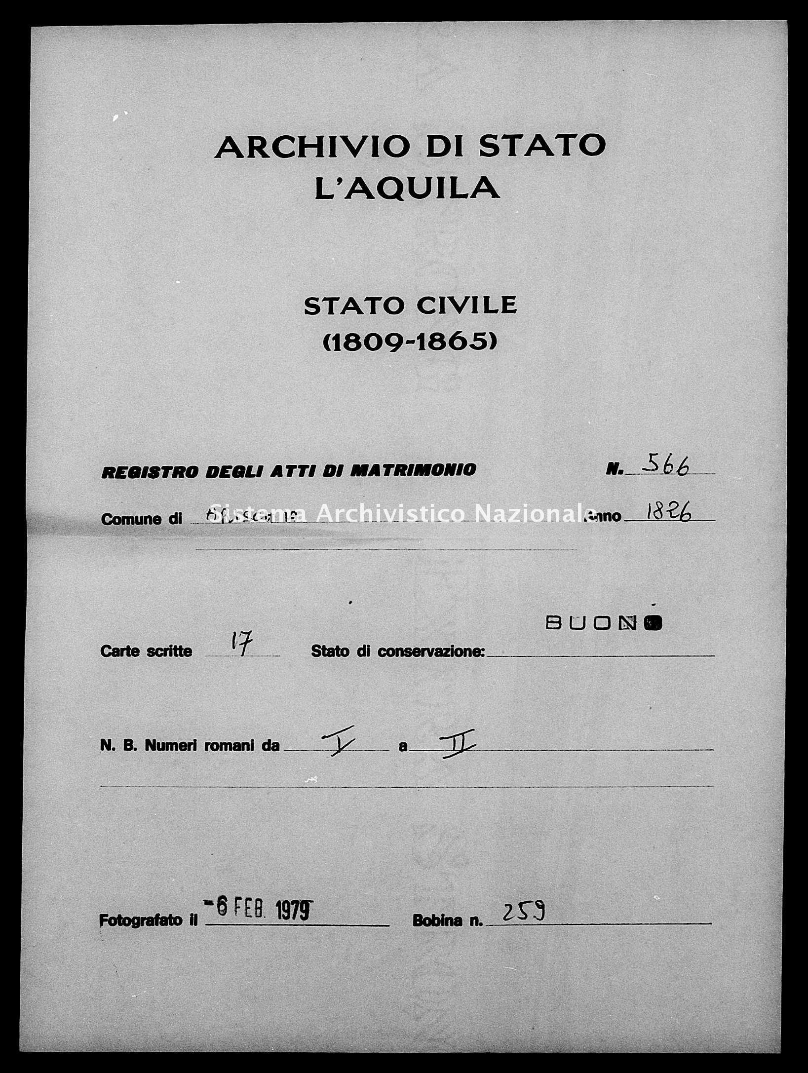 Archivio di stato di L'aquila - Stato civile della restaurazione - Arischia - Matrimoni - 1826 - 566 -