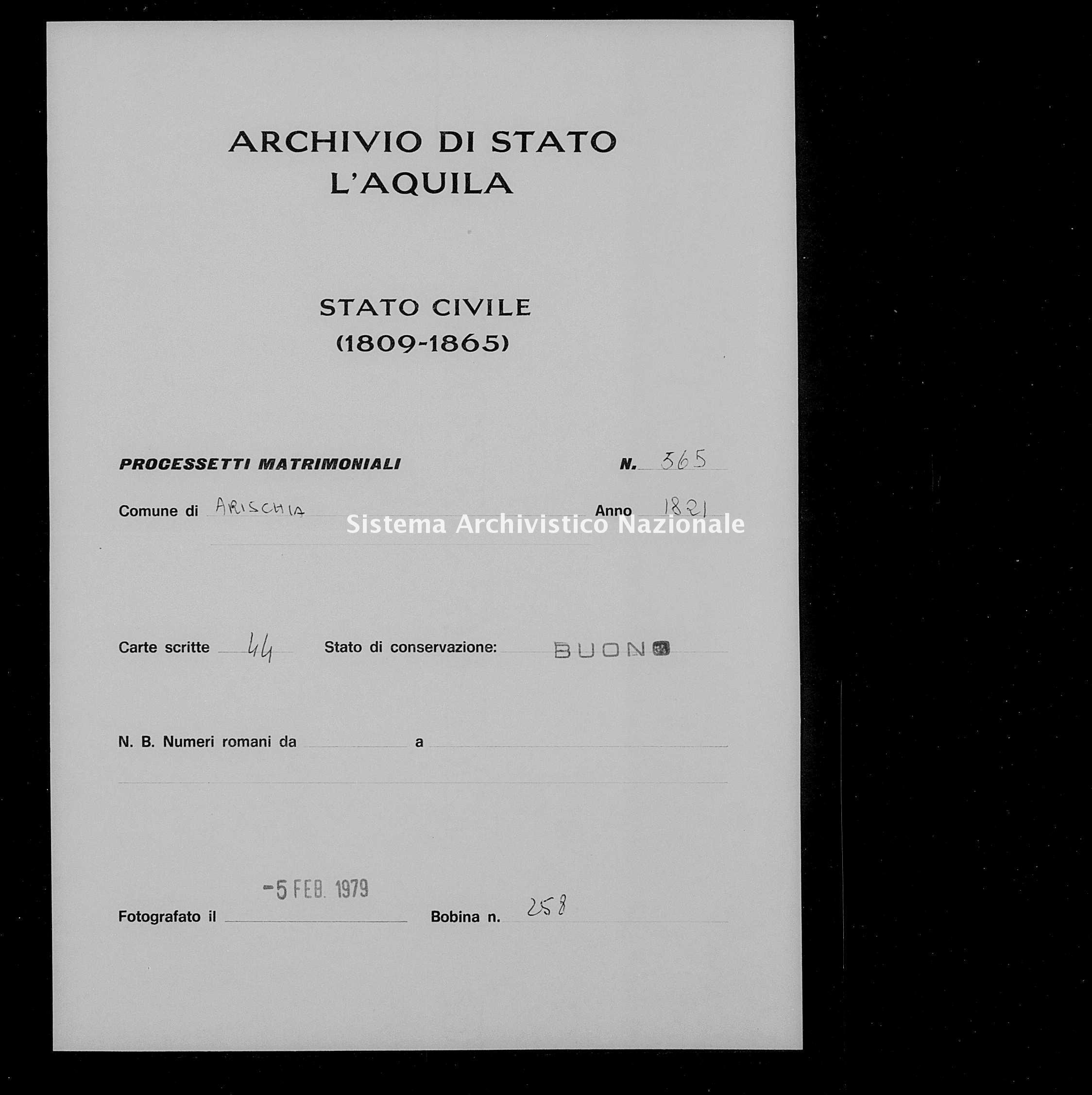 Archivio di stato di L'aquila - Stato civile della restaurazione - Arischia - Matrimoni, processetti - 1821 - 565 -