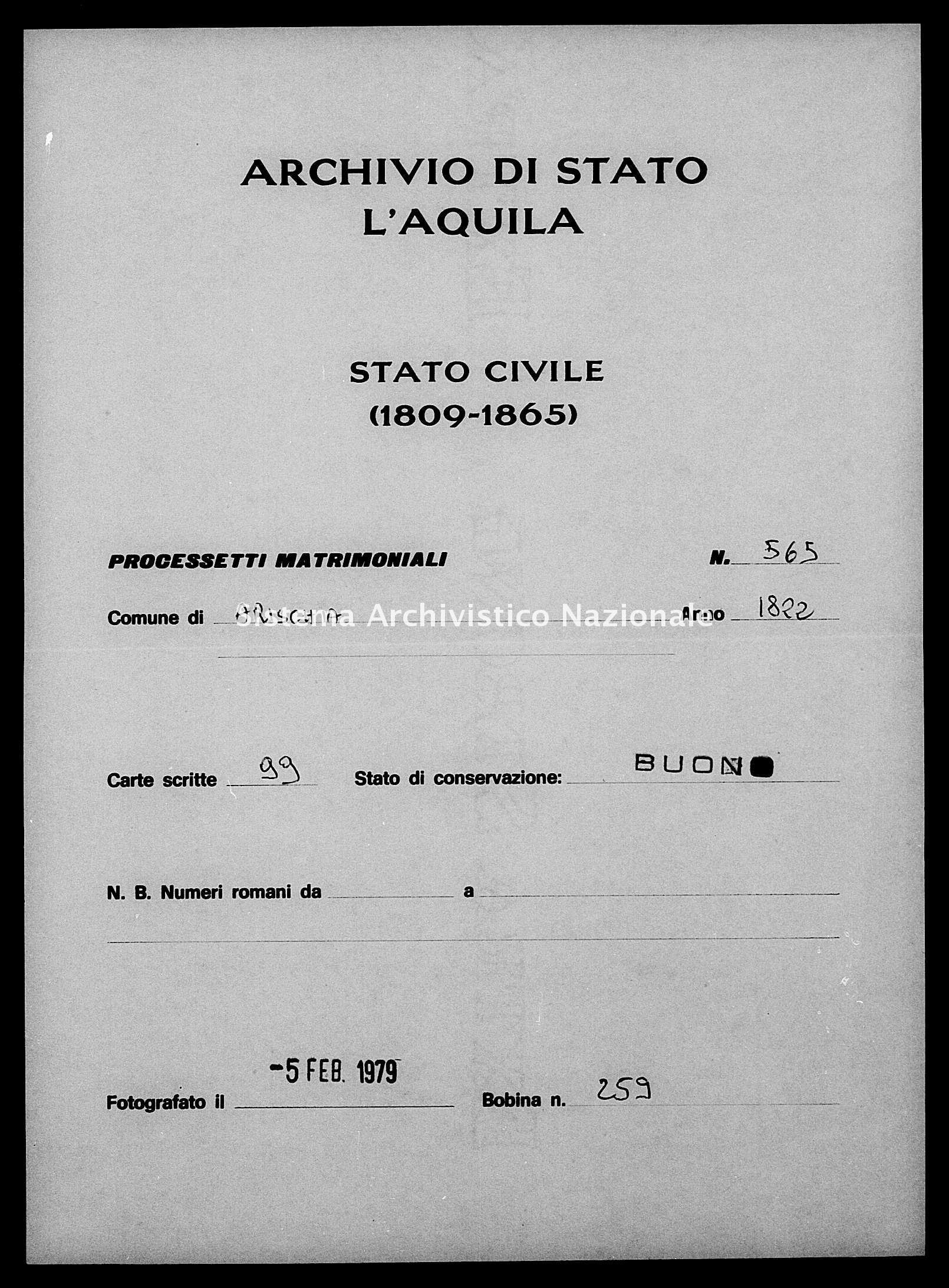 Archivio di stato di L'aquila - Stato civile della restaurazione - Arischia - Matrimoni, processetti - 1822 - 565 -