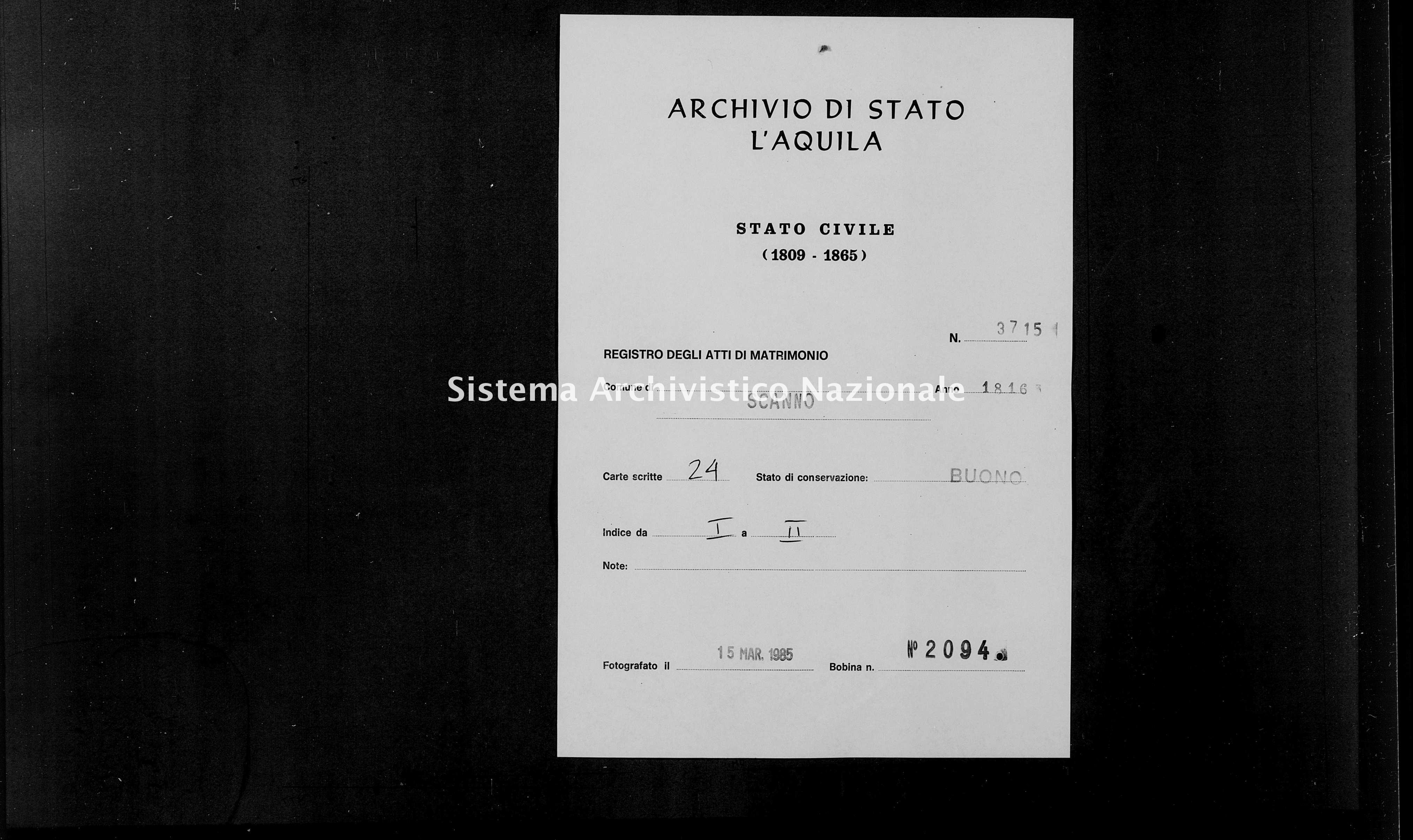 Archivio di stato di L'aquila - Stato civile della restaurazione - Scanno - Matrimoni - 1816 - 3715 -