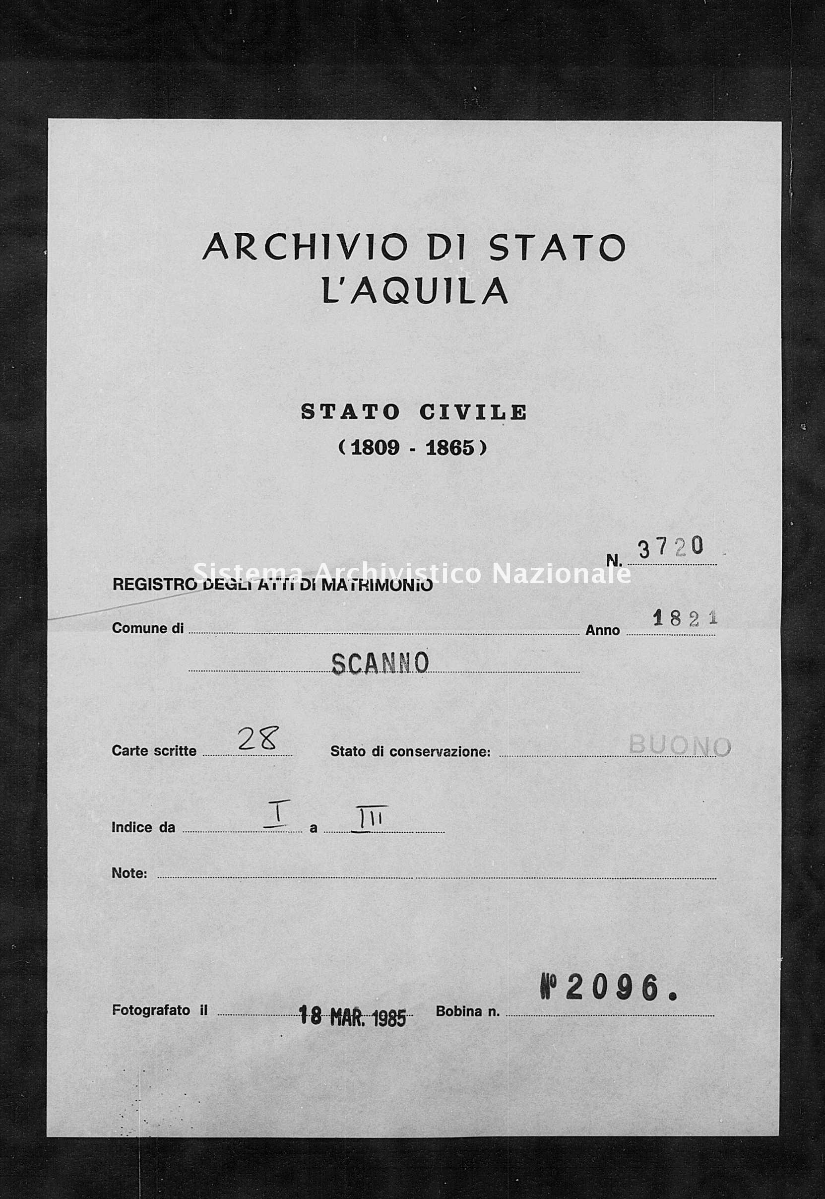 Archivio di stato di L'aquila - Stato civile della restaurazione - Scanno - Matrimoni - 1821 - 3720 -