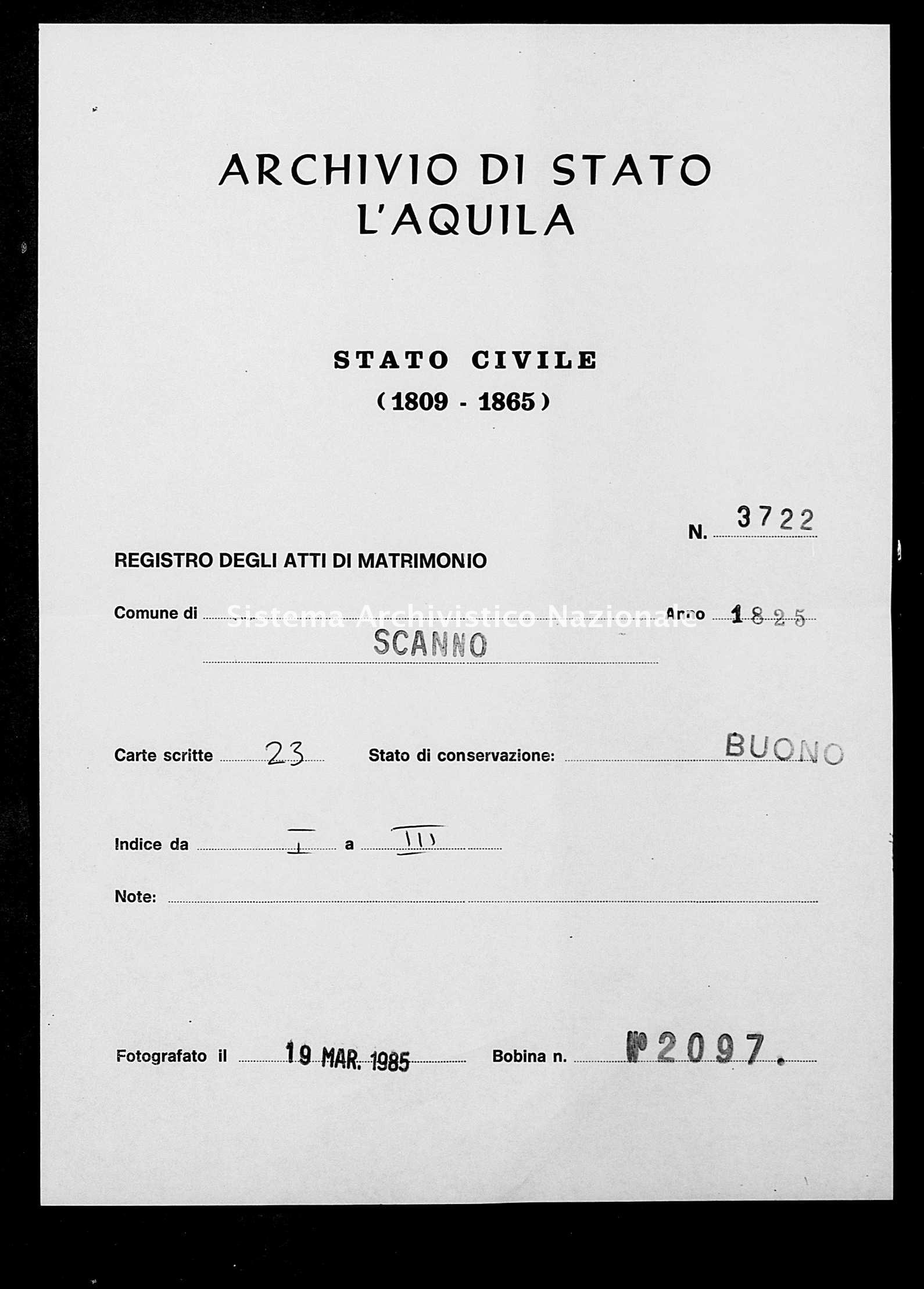 Archivio di stato di L'aquila - Stato civile della restaurazione - Scanno - Matrimoni - 1825 - 3722 -