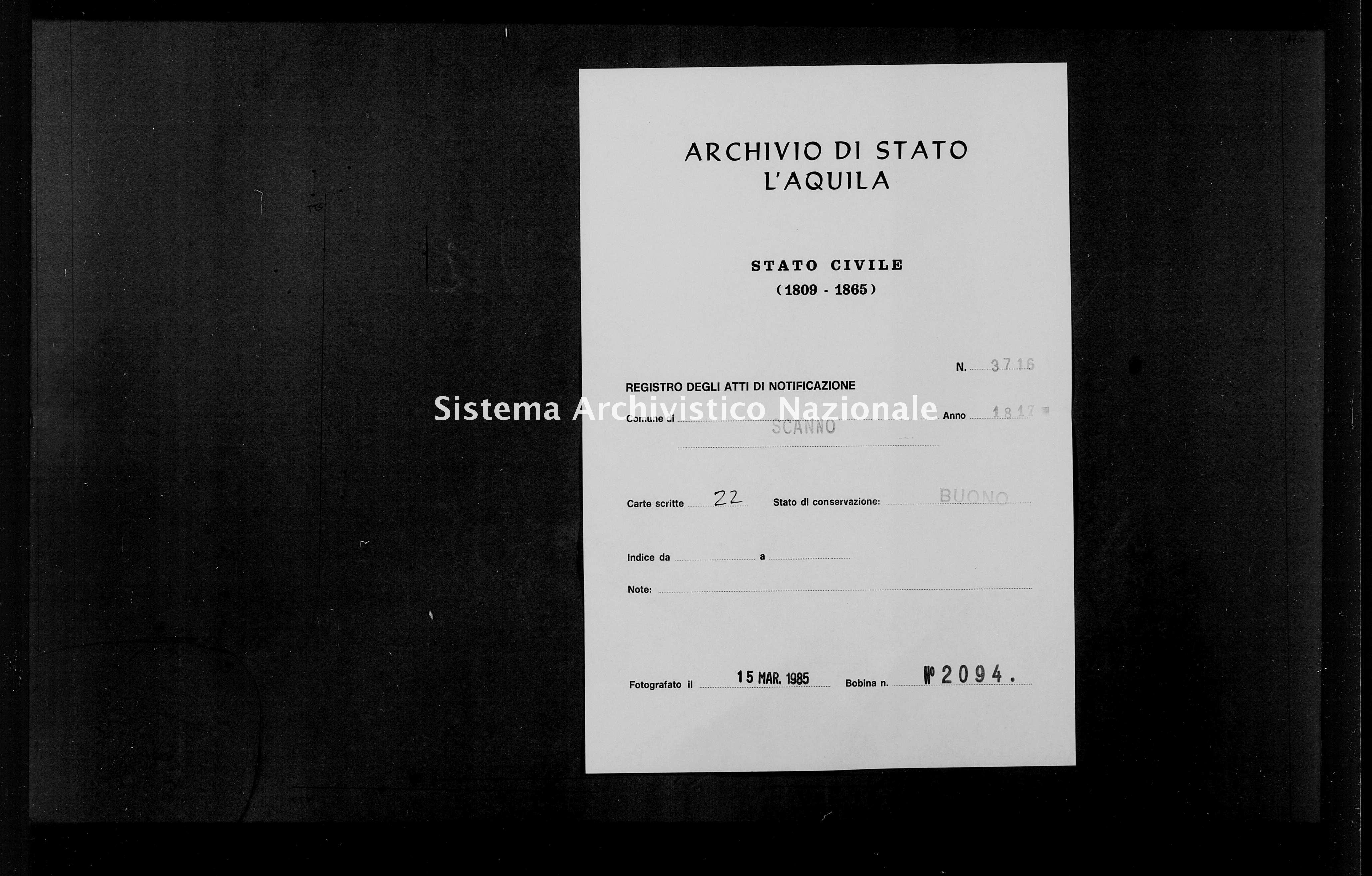 Archivio di stato di L'aquila - Stato civile della restaurazione - Scanno - Matrimoni, pubblicazioni - 1817 - 3716 -