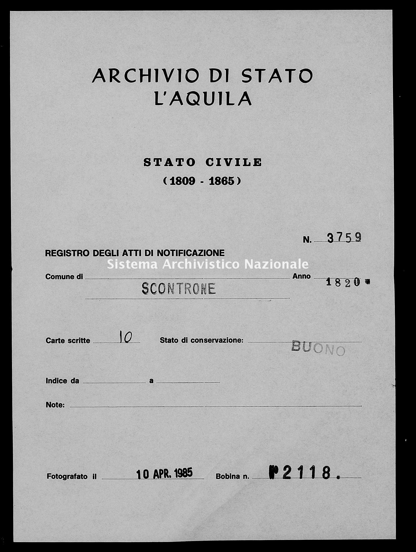 Archivio di stato di L'aquila - Stato civile della restaurazione - Scontrone - Matrimoni, memorandum notificazioni ed opposizioni - 1820 - 3759 -