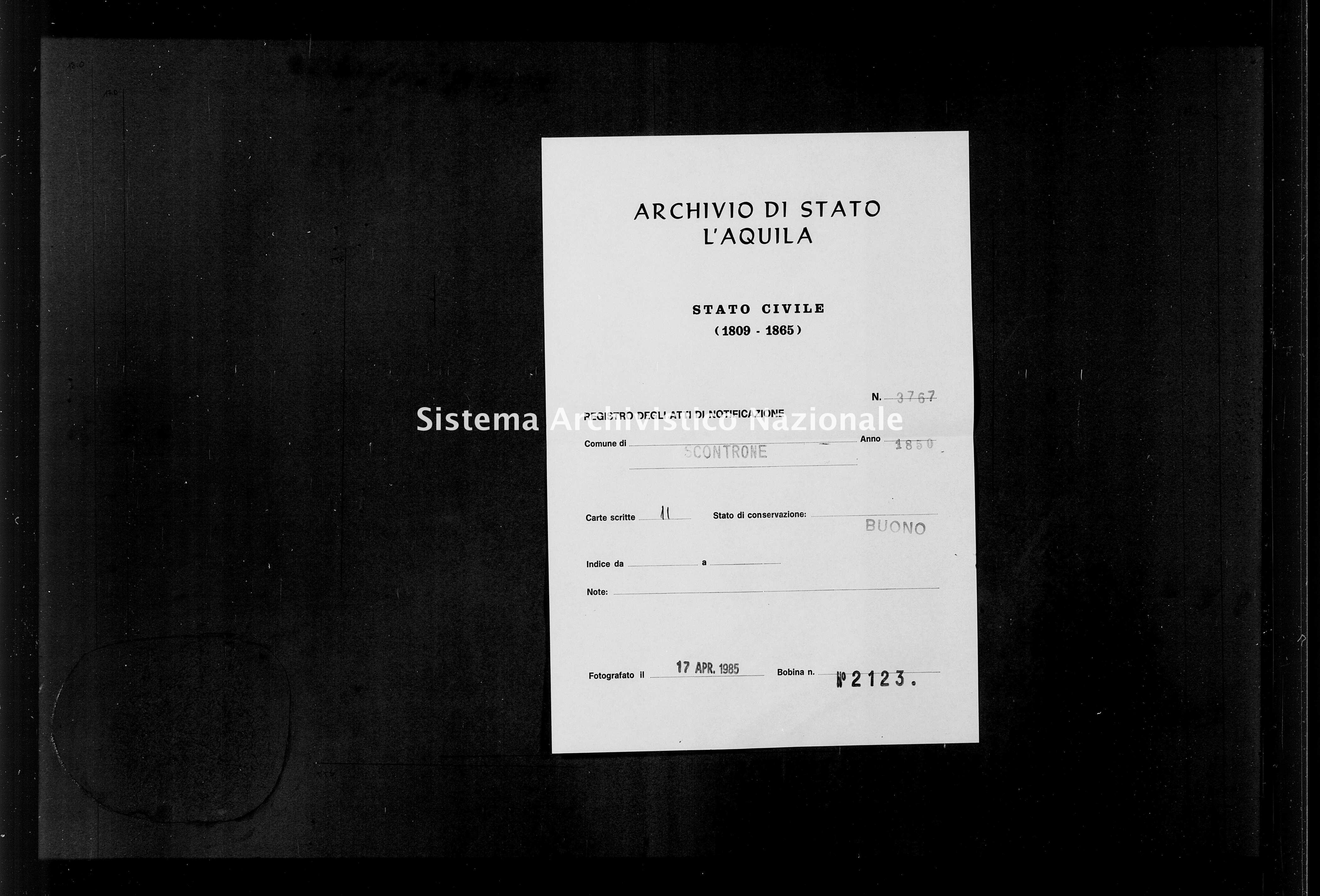 Archivio di stato di L'aquila - Stato civile della restaurazione - Scontrone - Matrimoni, memorandum notificazioni ed opposizioni - 1850 - 3767 -