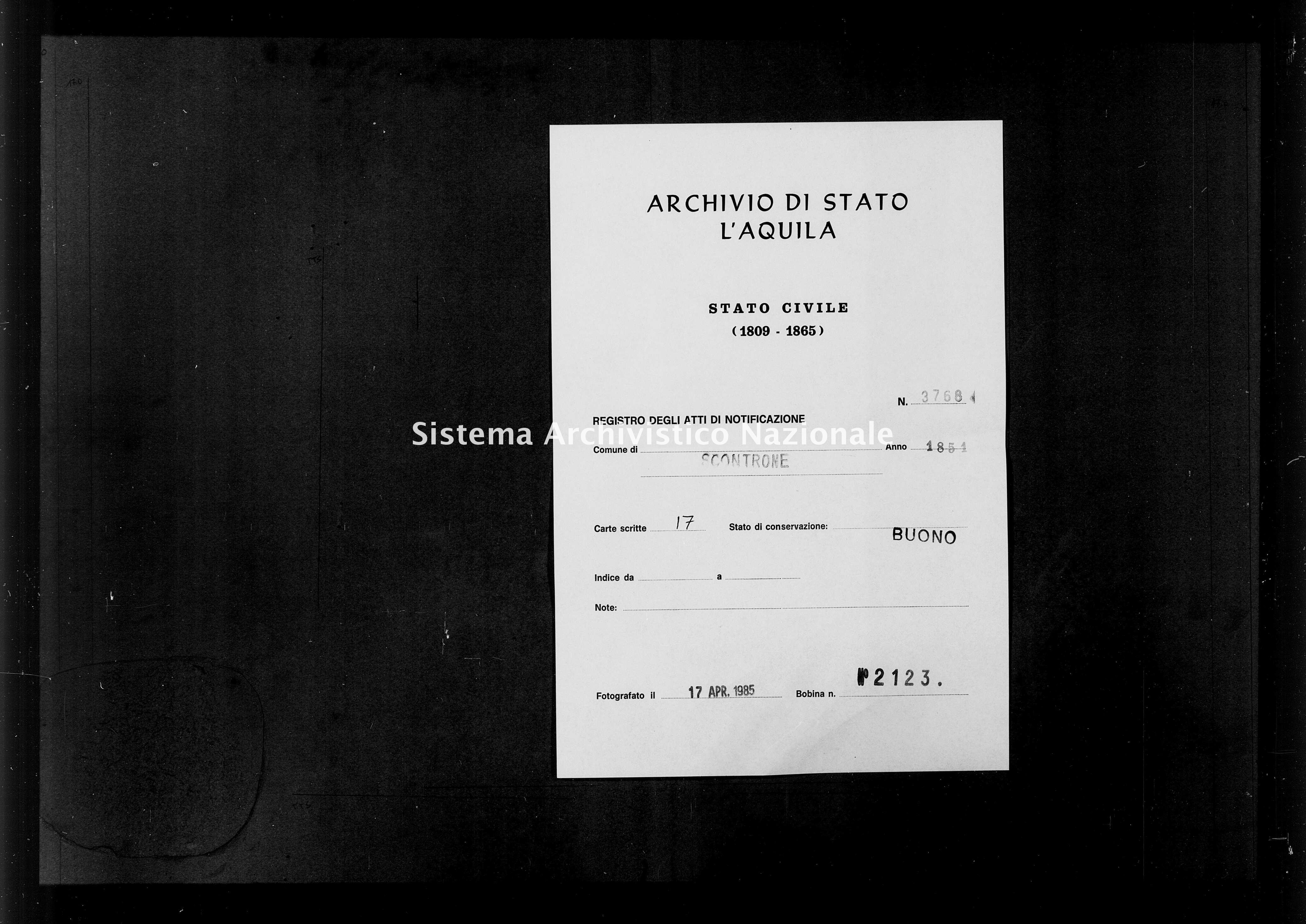 Archivio di stato di L'aquila - Stato civile della restaurazione - Scontrone - Matrimoni, memorandum notificazioni ed opposizioni - 1851 - 3768 -