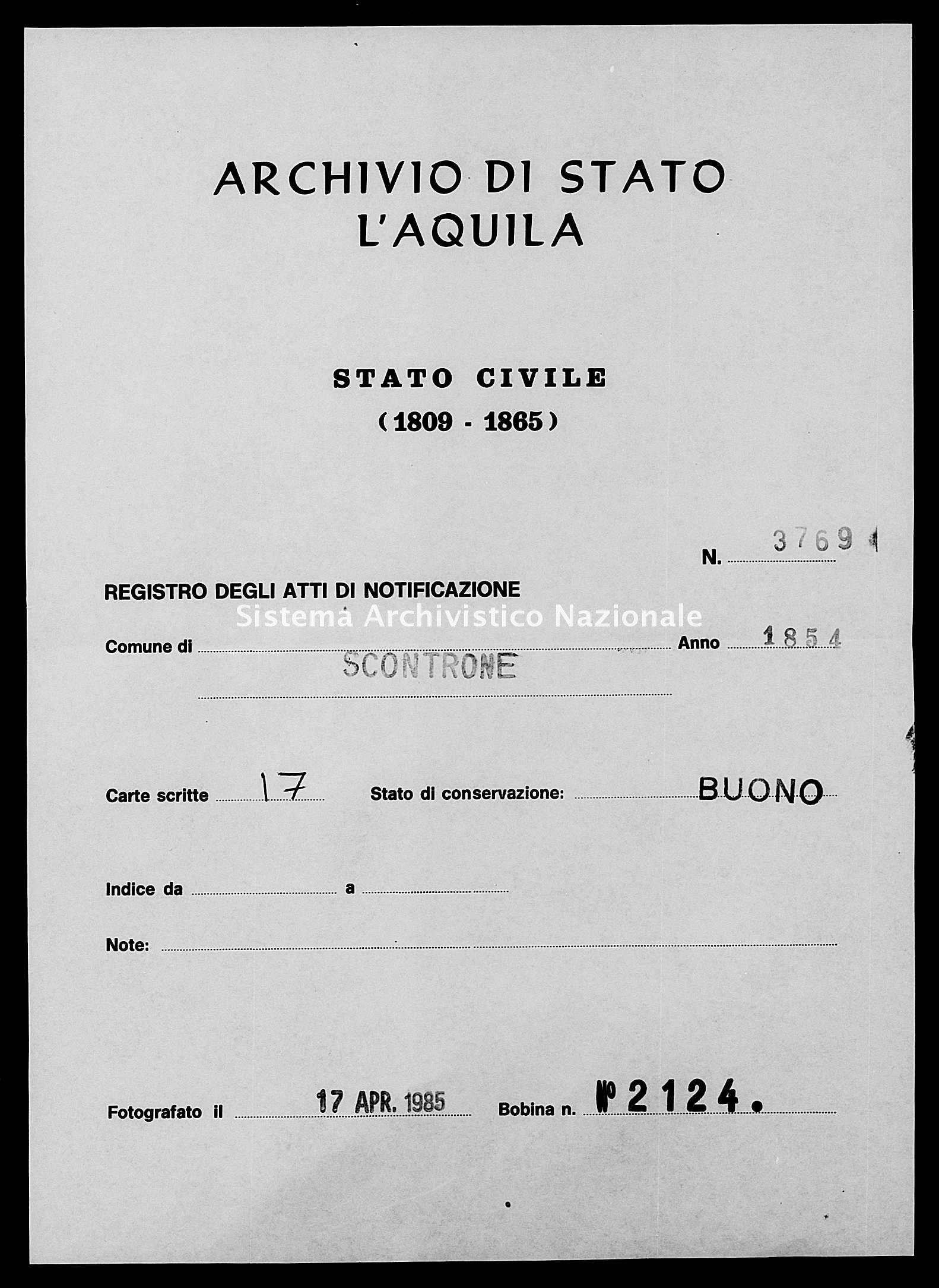 Archivio di stato di L'aquila - Stato civile della restaurazione - Scontrone - Matrimoni, memorandum notificazioni ed opposizioni - 1854 - 3769 -