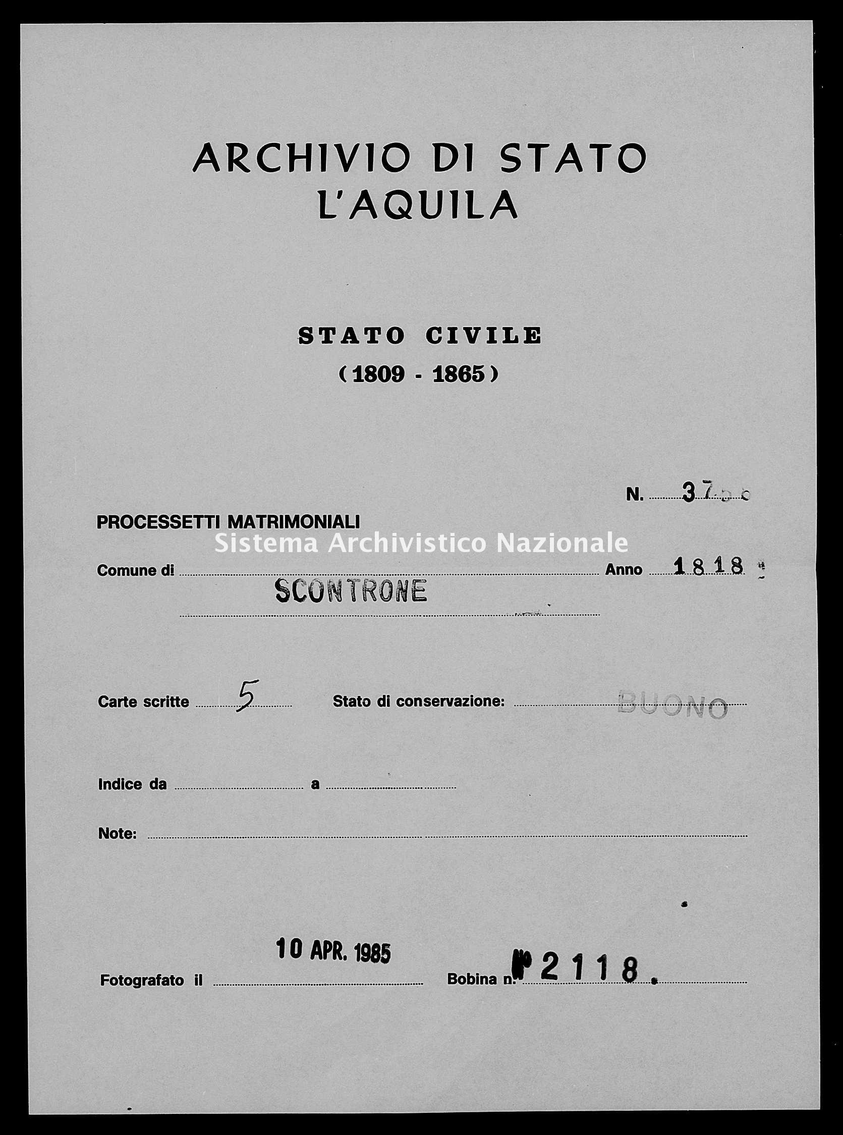 Archivio di stato di L'aquila - Stato civile della restaurazione - Scontrone - Matrimoni, processetti - 1818 - 3758 -