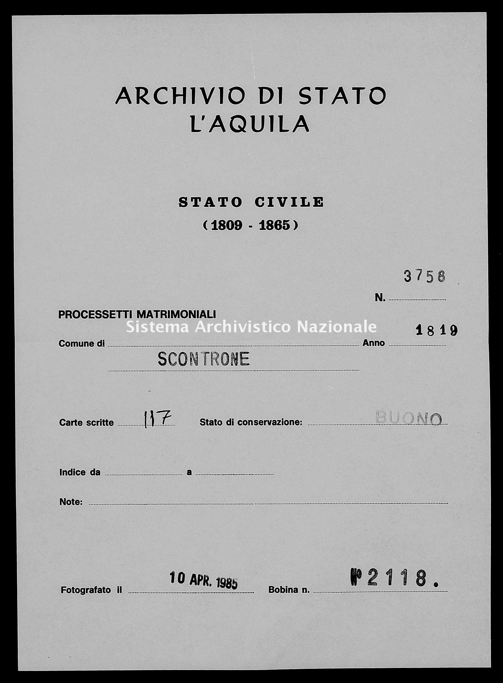 Archivio di stato di L'aquila - Stato civile della restaurazione - Scontrone - Matrimoni, processetti - 1819 - 3758 -