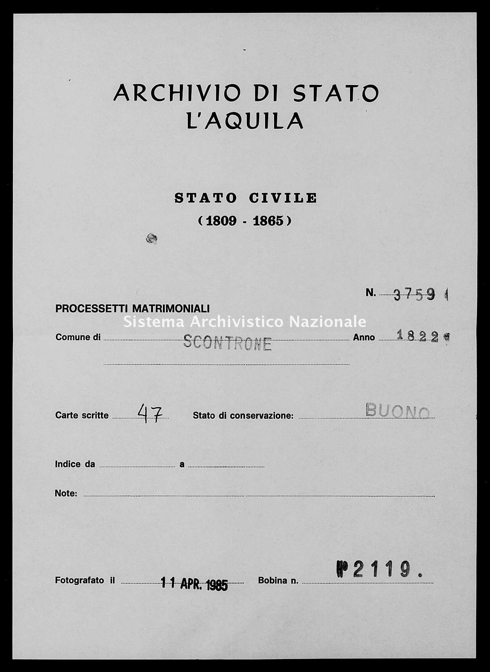Archivio di stato di L'aquila - Stato civile della restaurazione - Scontrone - Matrimoni, processetti - 1822 - 3759 -
